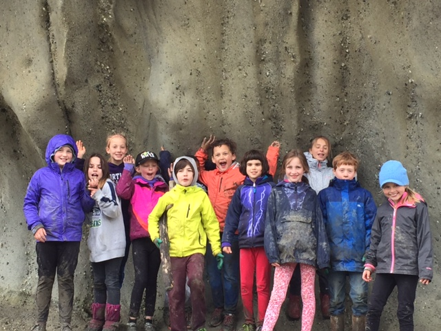 Wade King 3rd graders after the clam survey! Totally muddy but still excited!