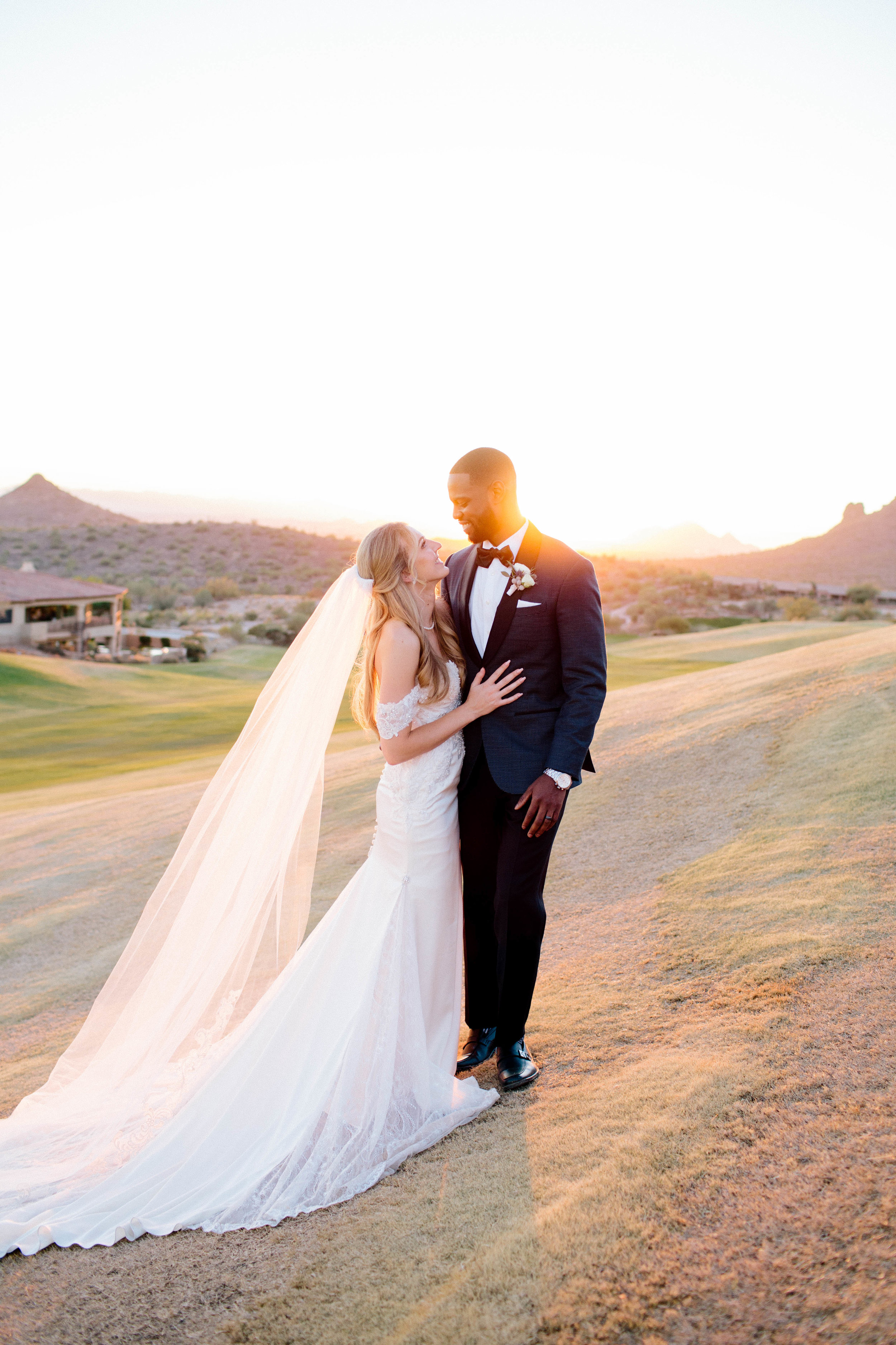 Eagle Mountain Golf Club Bride and Groom at Sunset- Arizona Wedding Photographer