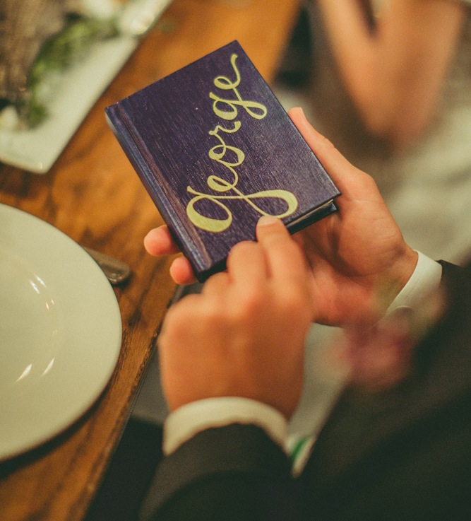 hand-lettered place card