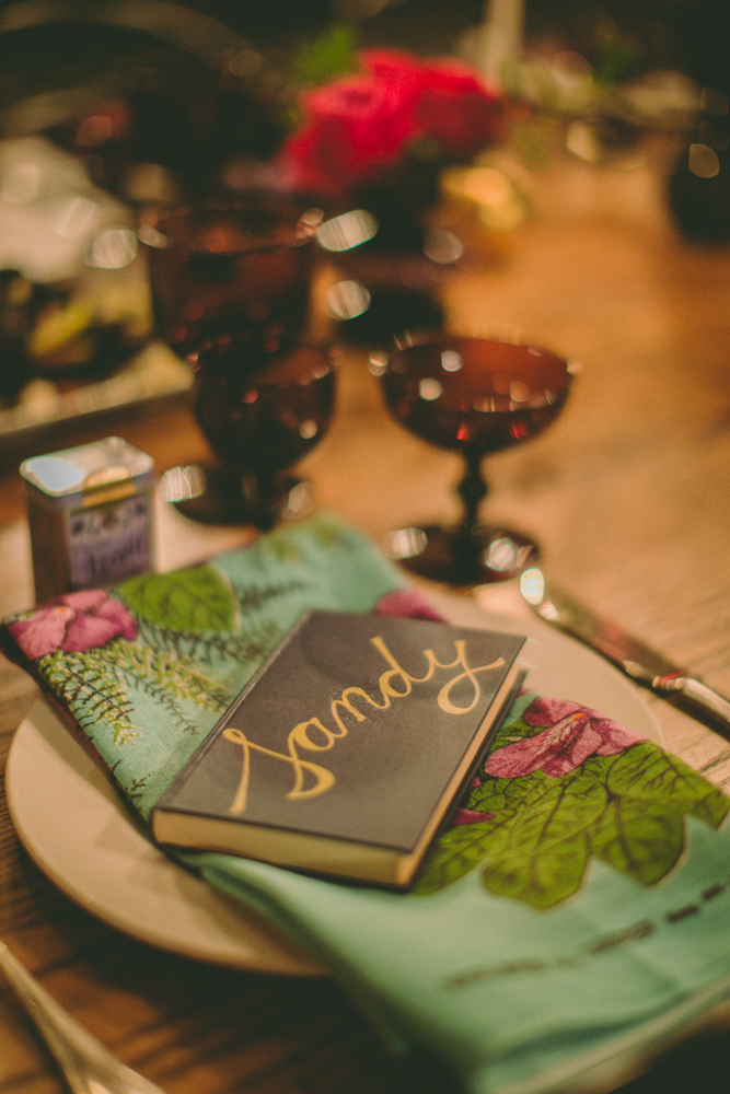 painted & hand-lettered vintage book place card (photo: amber gress)