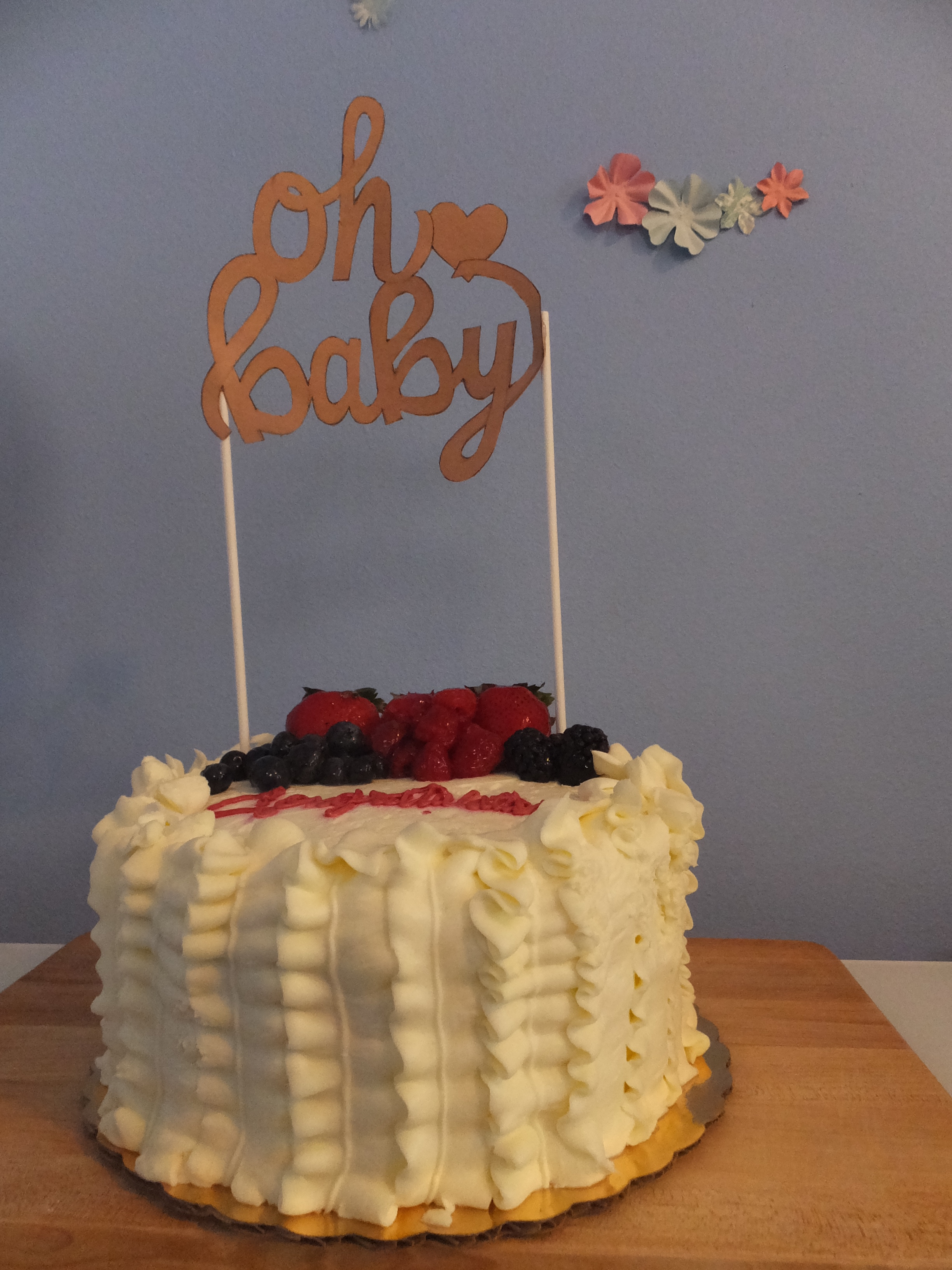"""""""oh baby"""" hand-lettered cake topper"""