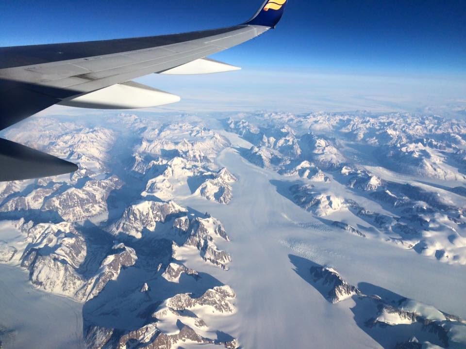 This is Greenland from the window of our Icelandair plane. Definitely not green.