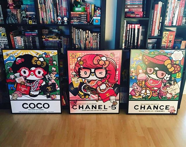 The entire piece spells (meta-artistically speaking) 'GIVE COCO CHANEL A CHANCE' by @danconia_art #SeanDanconia 👨🏻‍🎨❤️🥳🖖⭐️ Find the #mixedmedia #limitededitionart (#acryliconcancas)at #MoucheGallery in #beverlyhills / #RodeoDrive | #art inspired by #cocochanel #hellokitty #thebeatles #japan #kyotoart #taipeiart #jaimeandthemagictorch #sanrioart #japaneseart #popart #popartist #hellokittyart #chanel #frenchfashion #mod anti-#superflat #beverlyhillsart #otaku #otakuroom