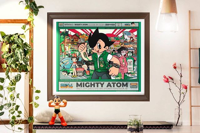 "Now available at 'BLOOMING ART GALLERY • 213 628 8811 (Ask for Nikki-san) | LITTLE TOKYO VILLAGE PLAZA | Hand-Painted AP of ""Mighty Atom (Astro Boy) 