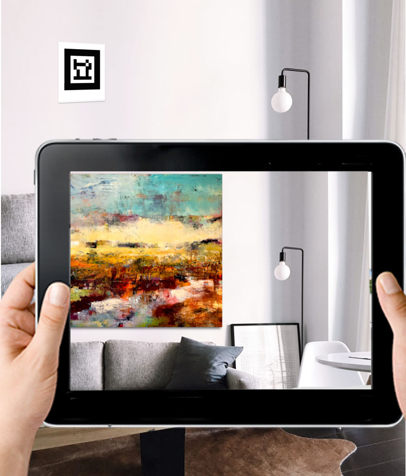 Use the Augmented Reality   Virtual Art Hanging app to virtually hang one of my art pieces on your own wall.