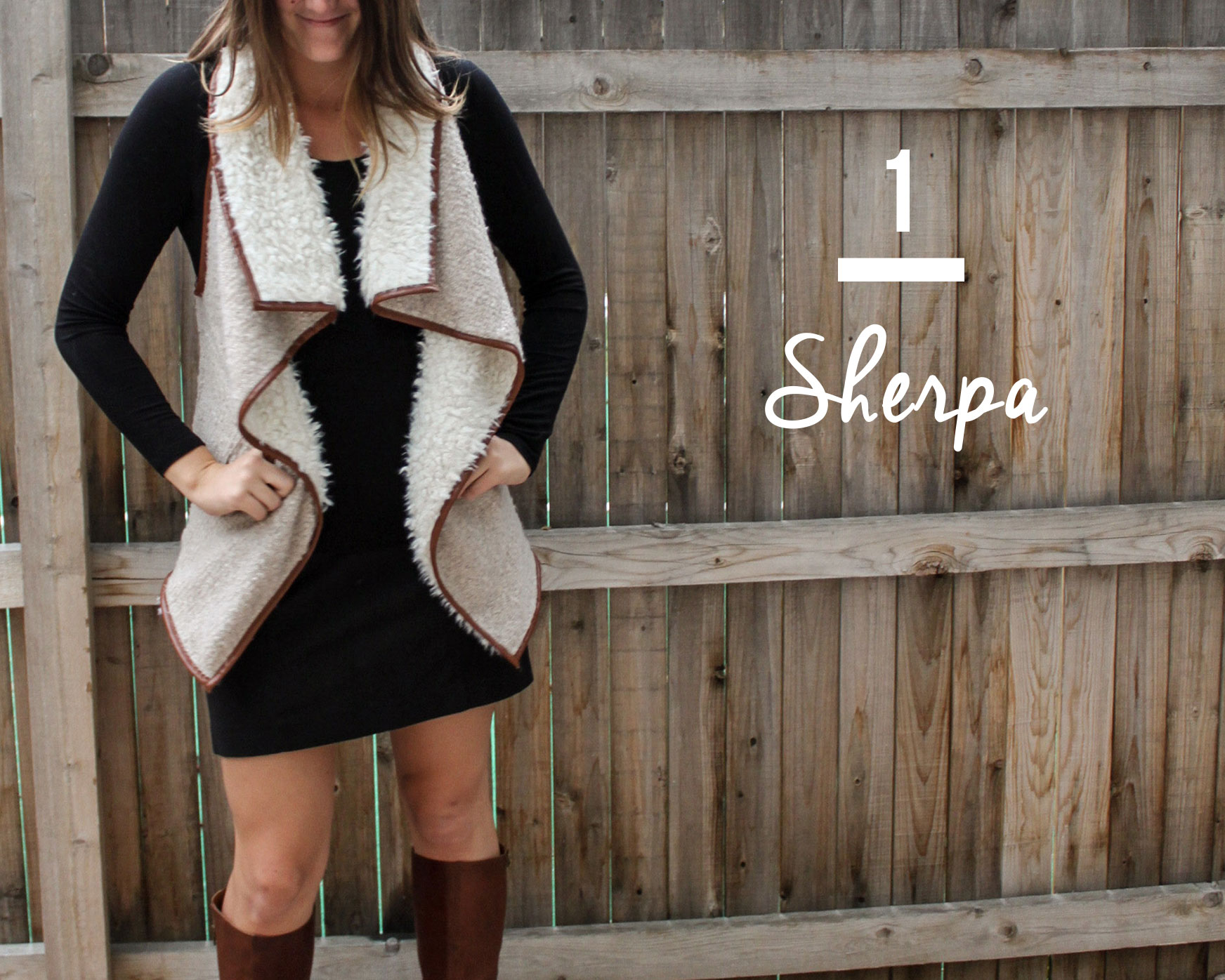 SHERPA  Just what you need for a day or night out, a sherpa vest bound in a copper colored vegan leather from Sisters.