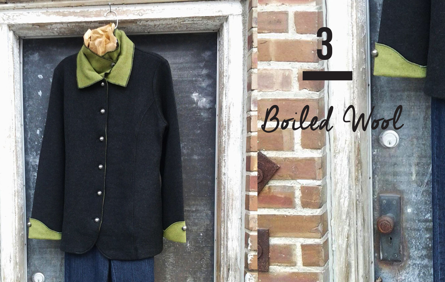 BOILED WOOL Icelandic's last delivery of Fall 2014 boiled wool jackets and vests have just arrived! Featured above is a charcoal stroller with green trim.