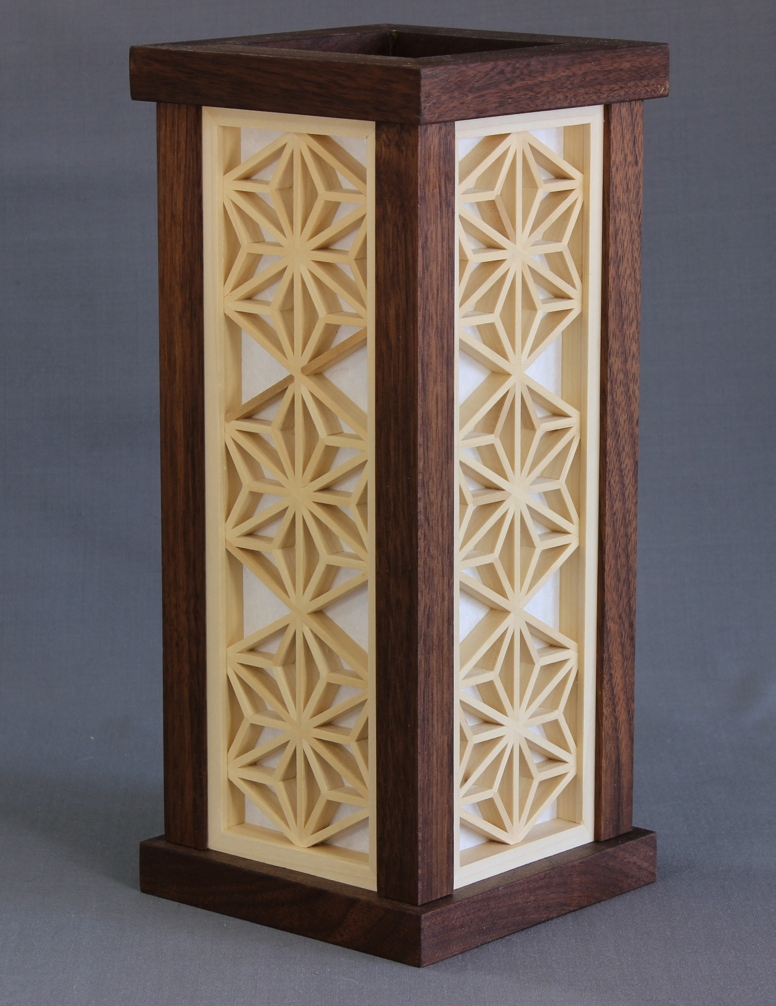 Andon Model #76   625.00 USD  12 3/16 x 5 5/16 x 5 5/16 inches  Shown in Walnut, made to order available in any domestic species.  Japanese shoji paper over wood.  Supplied with a led light fixture manufactured from UL listed parts.