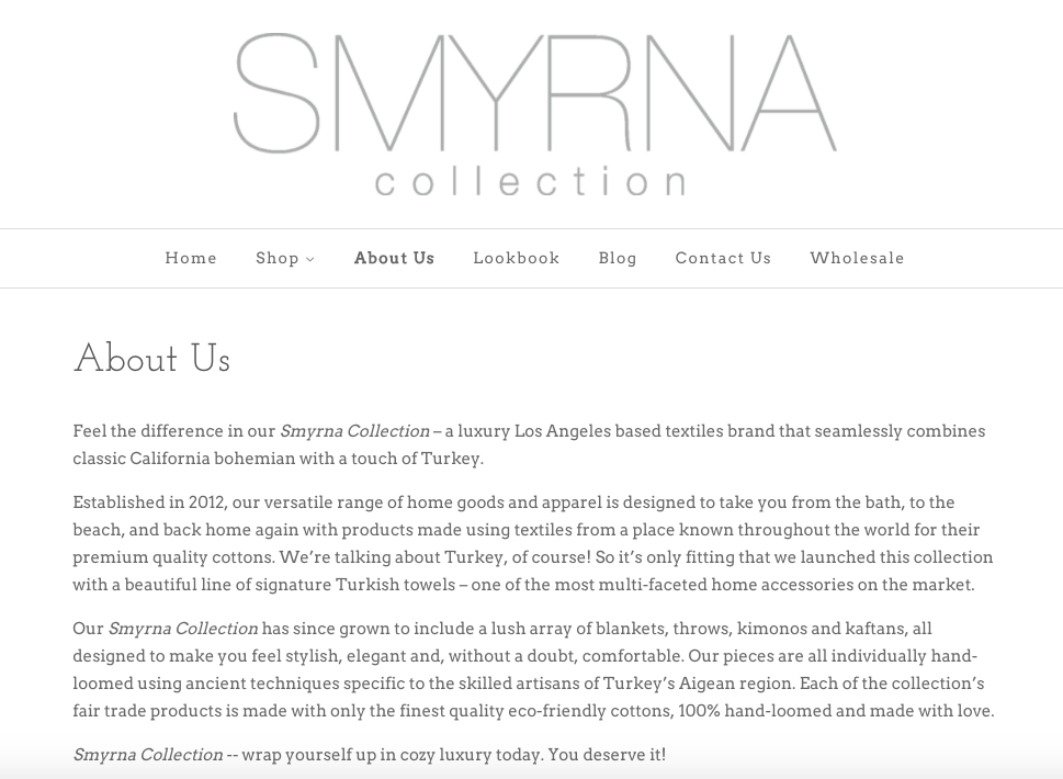 Client: Smyrna Collection Textiles. Copy by: Elizabeth Rosselle