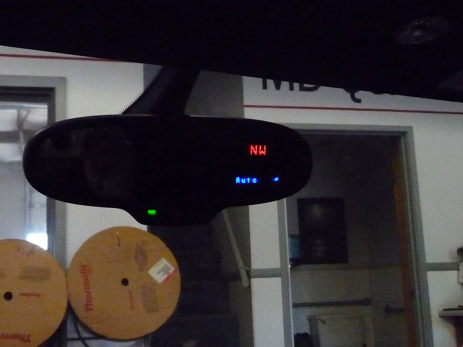 Text Display Built Into Rearview Mirror