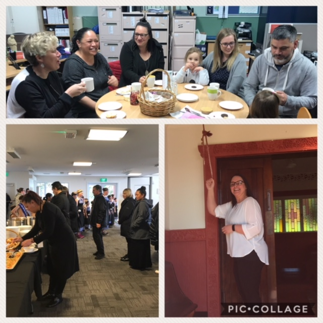 Team/Whanau from Otakou University Childcare association, Te Parekereke o te ki enjoy one last morning tea with Amie at her whakatau with her new team from Otakou Runanga Office.