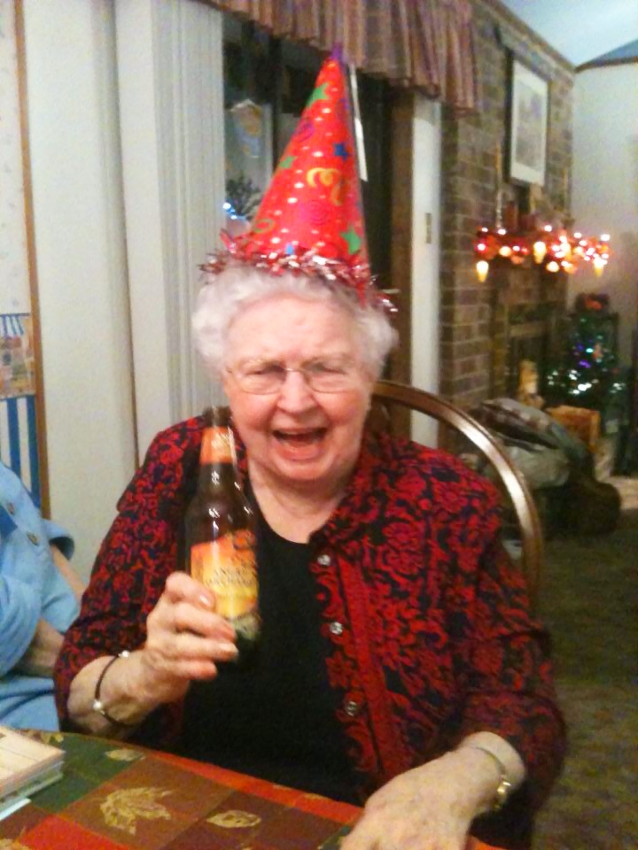 This is my Mimi enjoying some cider on her 85th birthday. She's a cutie, huh?