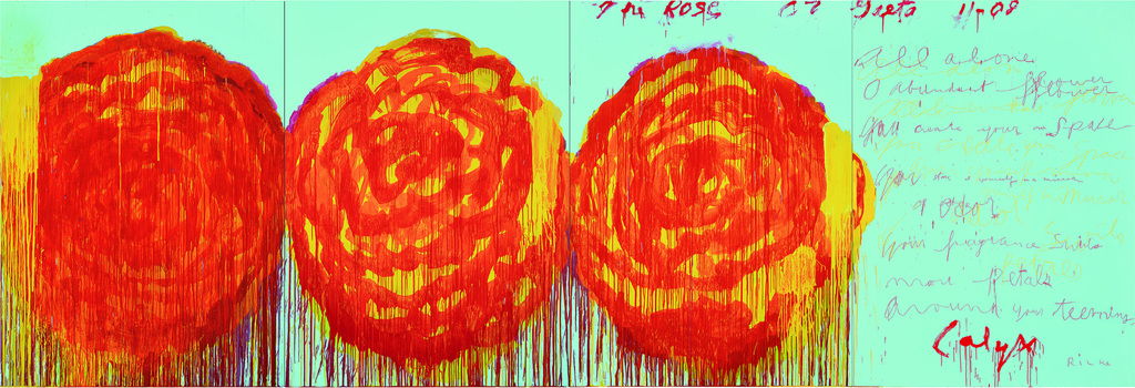 Cy Twombly's roses. Acrylic on plywood.