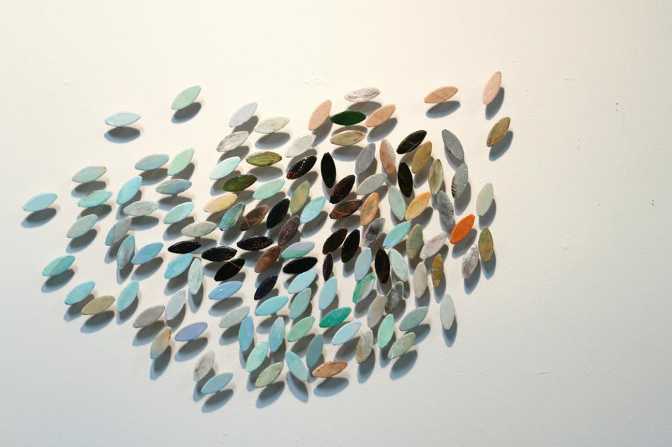 """CAROL ELKOVICH,  Organized Chaos , 2014, acrylic &wood installation 24"""" x 24"""""""