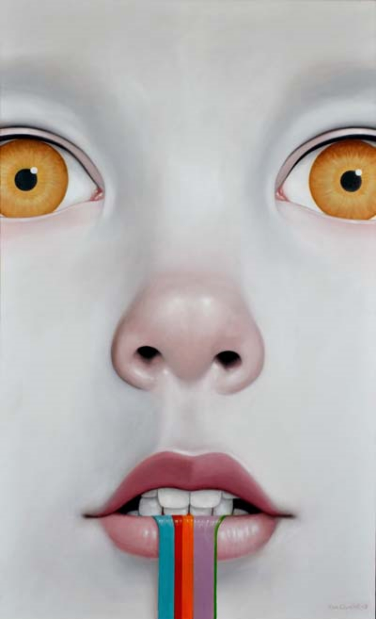 "ALEXANDER CHURCHILL,  Amylase of the Uncanny Valley , 2013, oil  on canvas, 60"" x 36"""