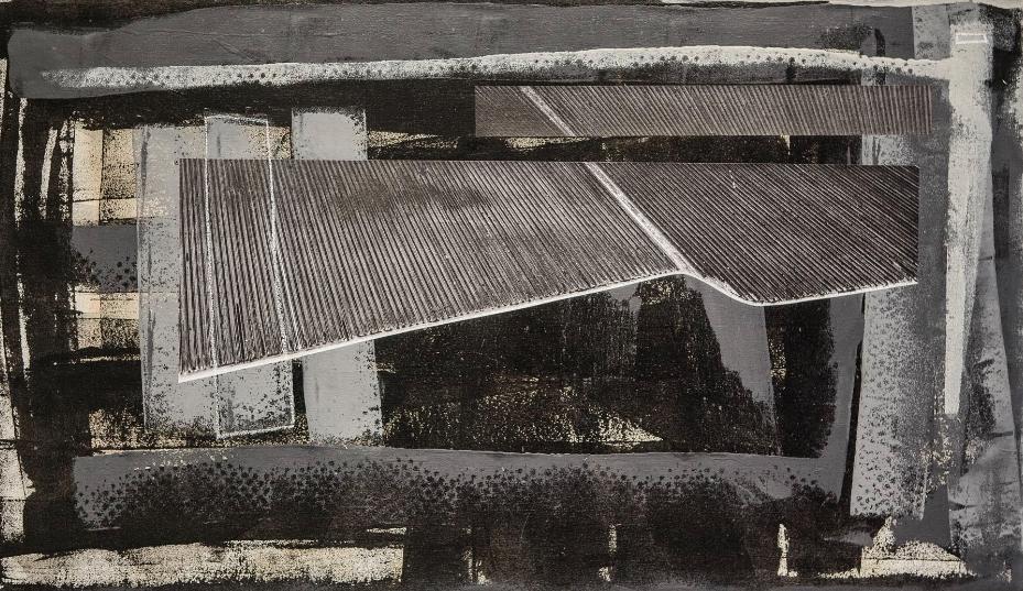 "JONAS LARA, Field Nocturne , 2015, mixed media on canvas, 24"" x 42"""