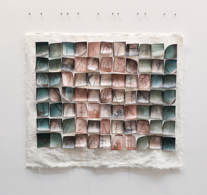 "MICHELLE ROBINSON,   Grid   ,  2014, 77 small photos on linen,   32"" x 28"""
