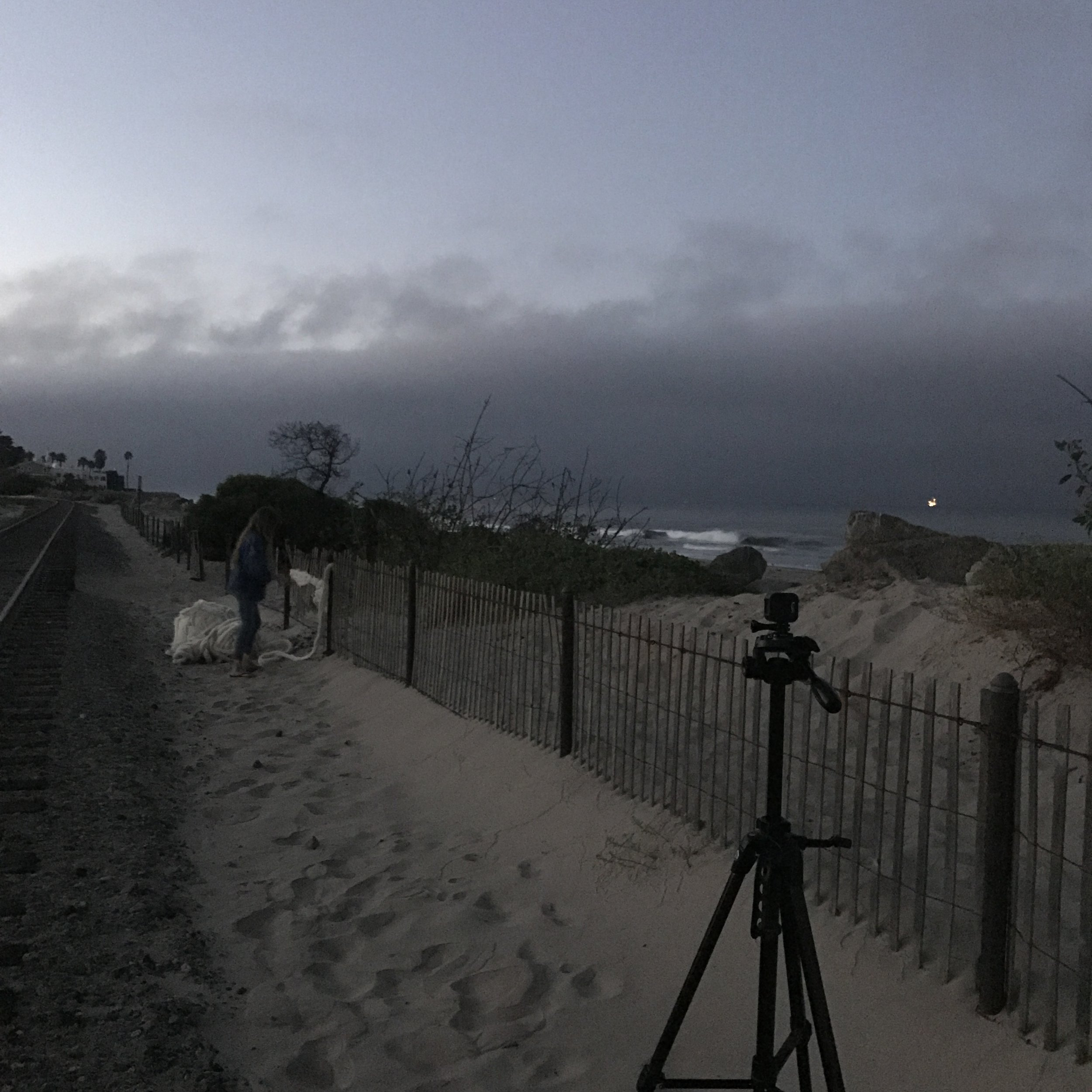 Filming on the Southern California coast in the early am.