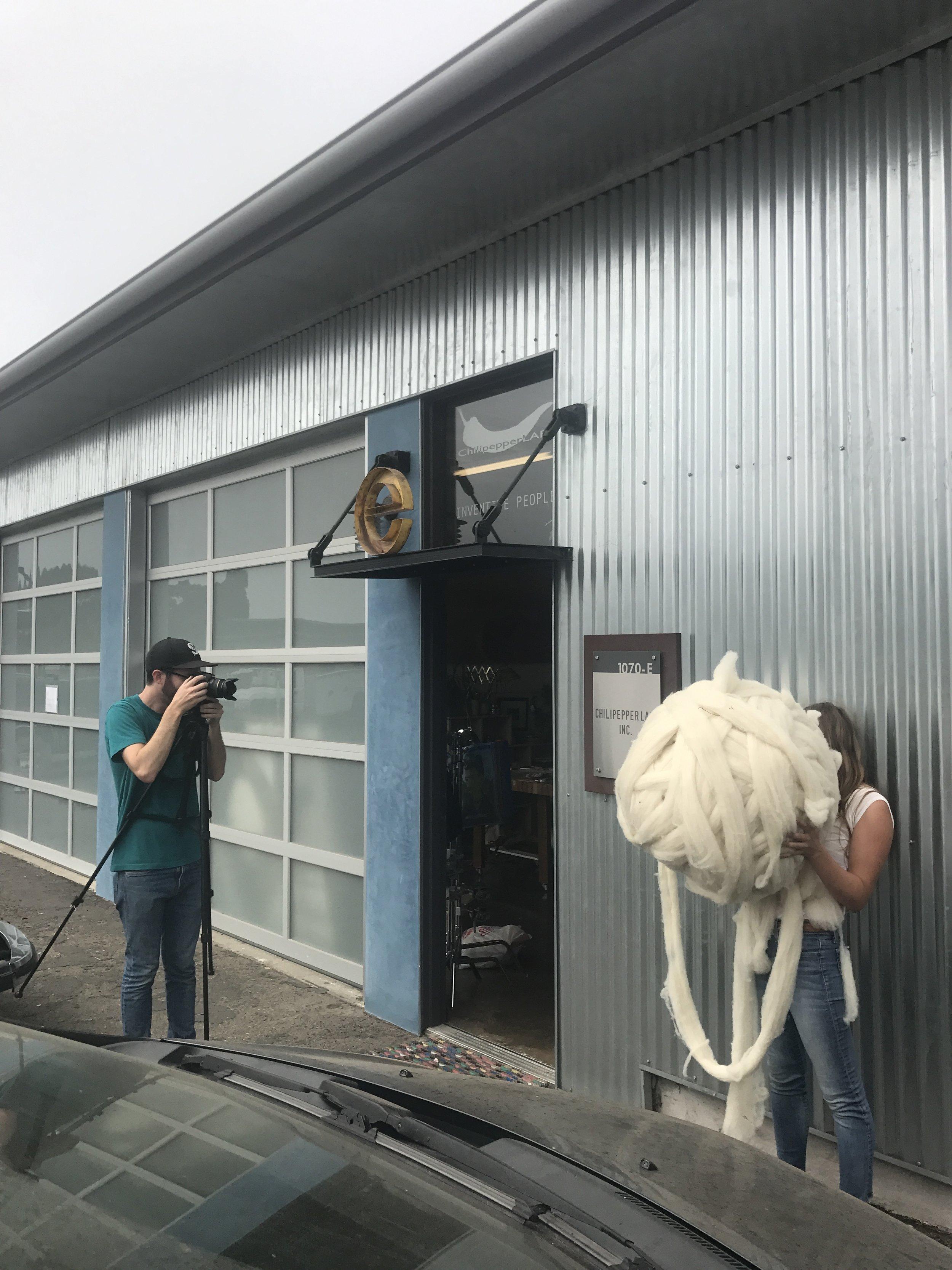Shooting outside Dominga's studio.