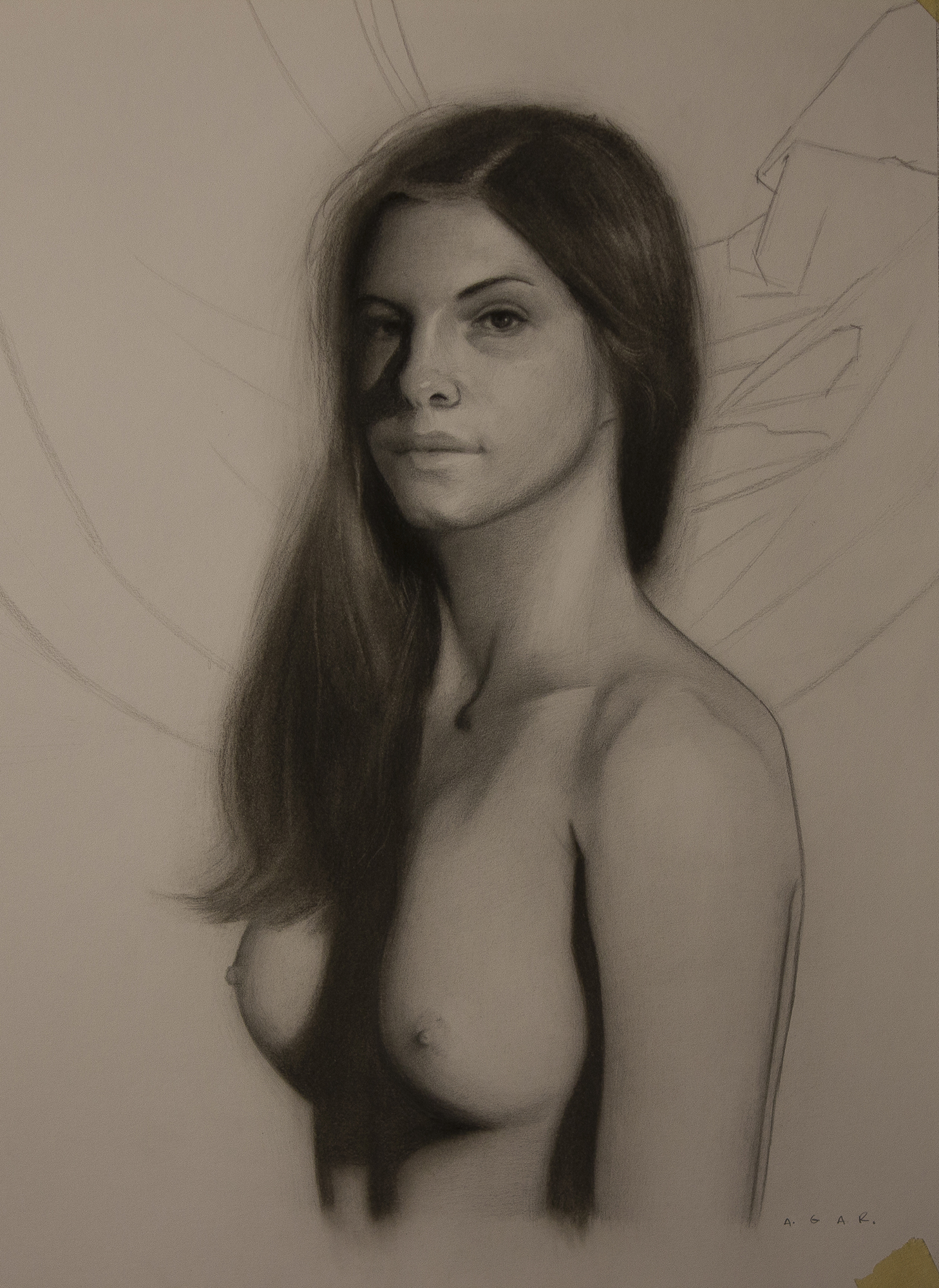 """drawing of amy for red""  graphite and charcoal"