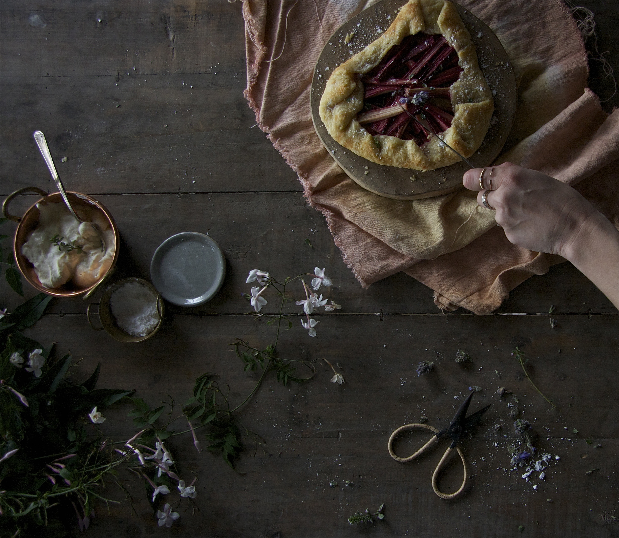 Beth made these rhubarb galettes and as soon as we finished shooting them, Cecille, my styling partner for the day, and I demolished them with matched levels of greed/enjoyment. Nothing better than eating with someone who loves eating.