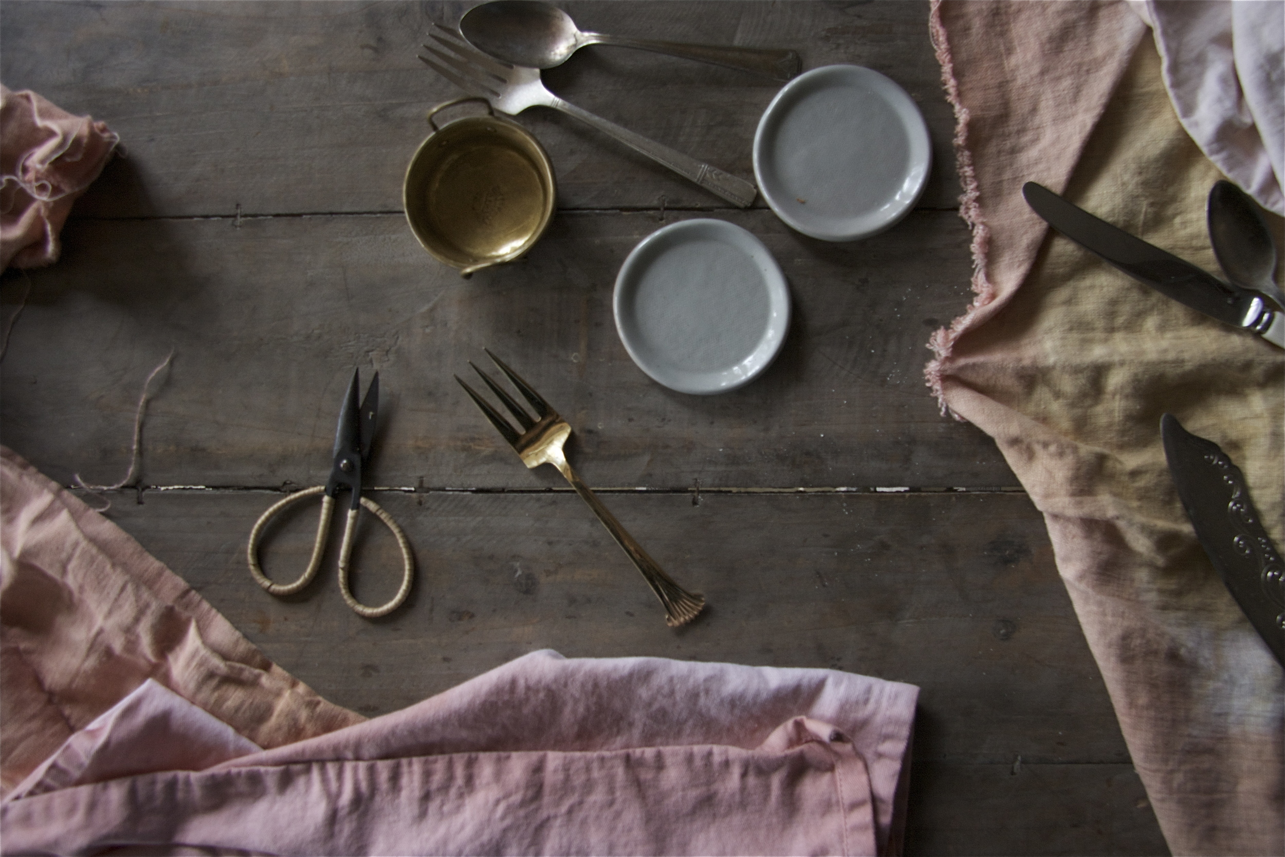 Linen and cotton napkins hand dyed with lemon scented gum leaves and ground acacia bark