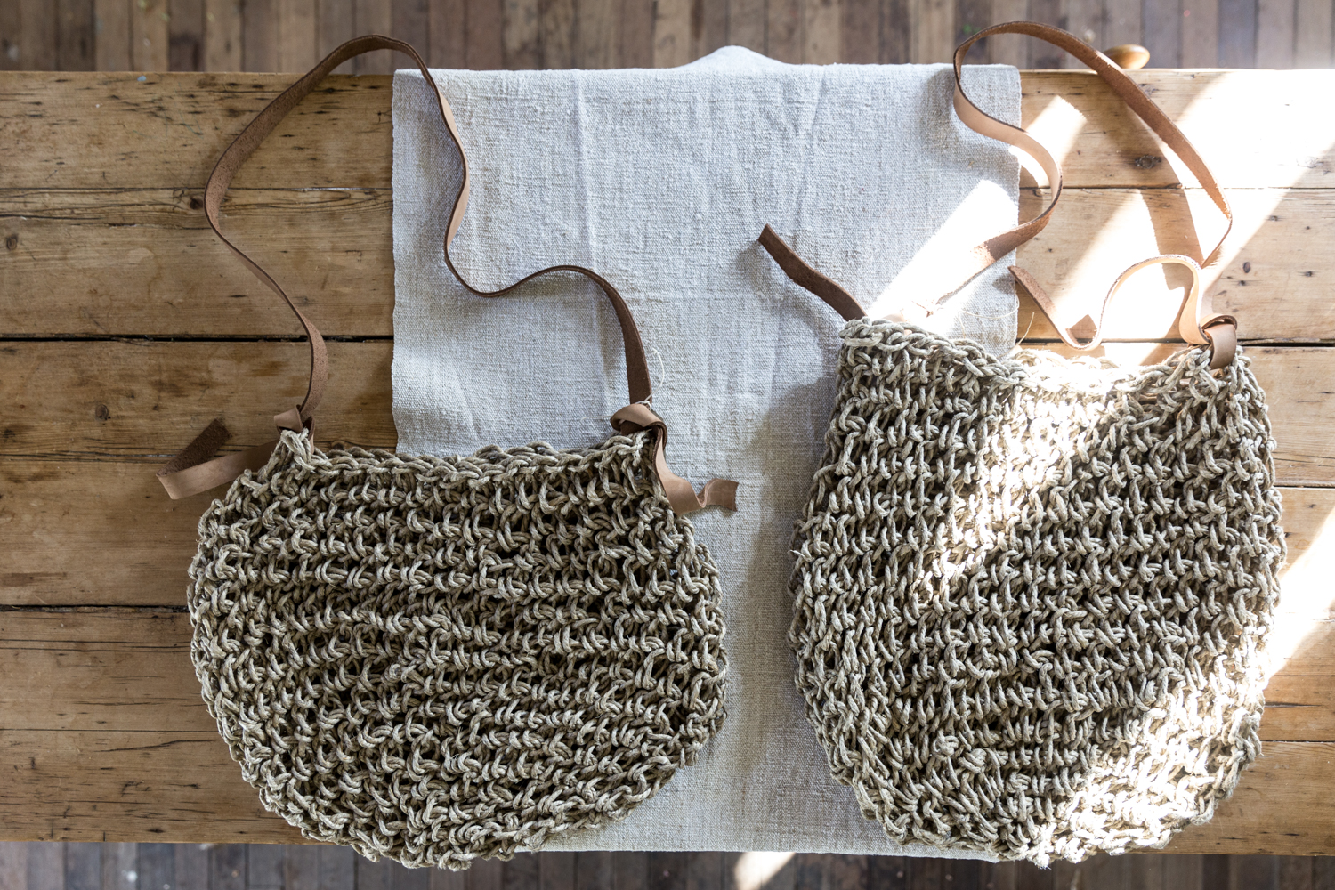 "The Flax Sacs - the standard size bag on the left and the larger ""sac"" size on the right, handmade by Mr and Mrs Charlie in Australia"