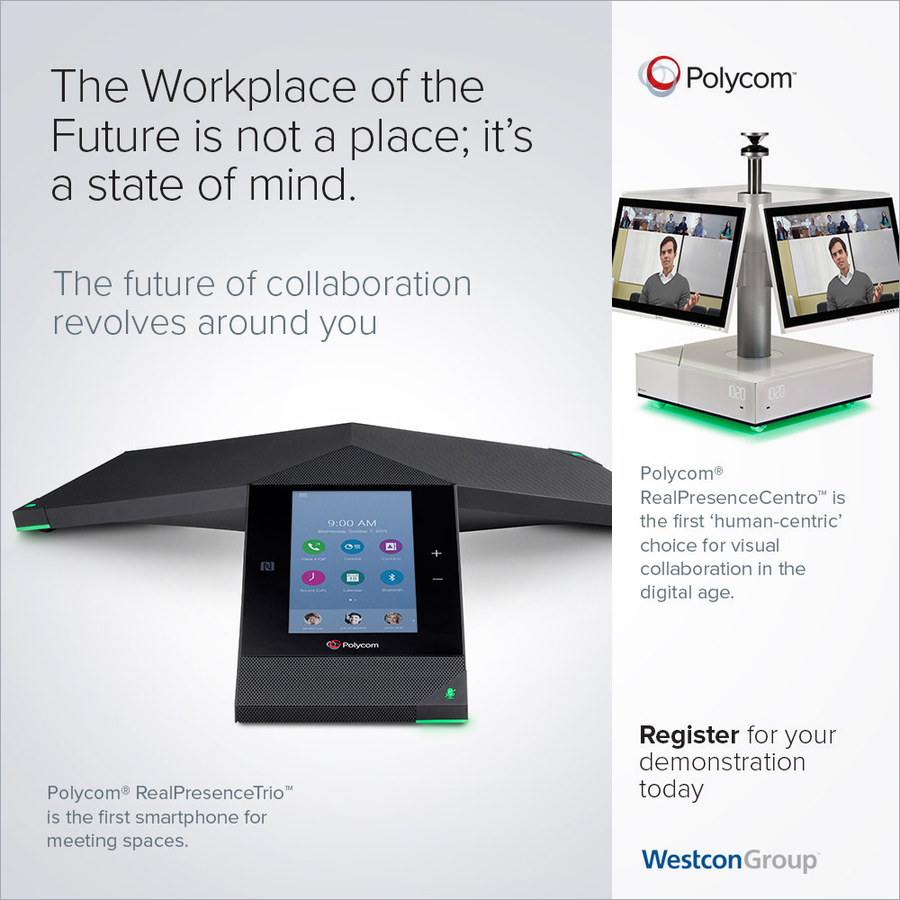Polycom RealPresence Trio B2B online advertising campaign co-branded