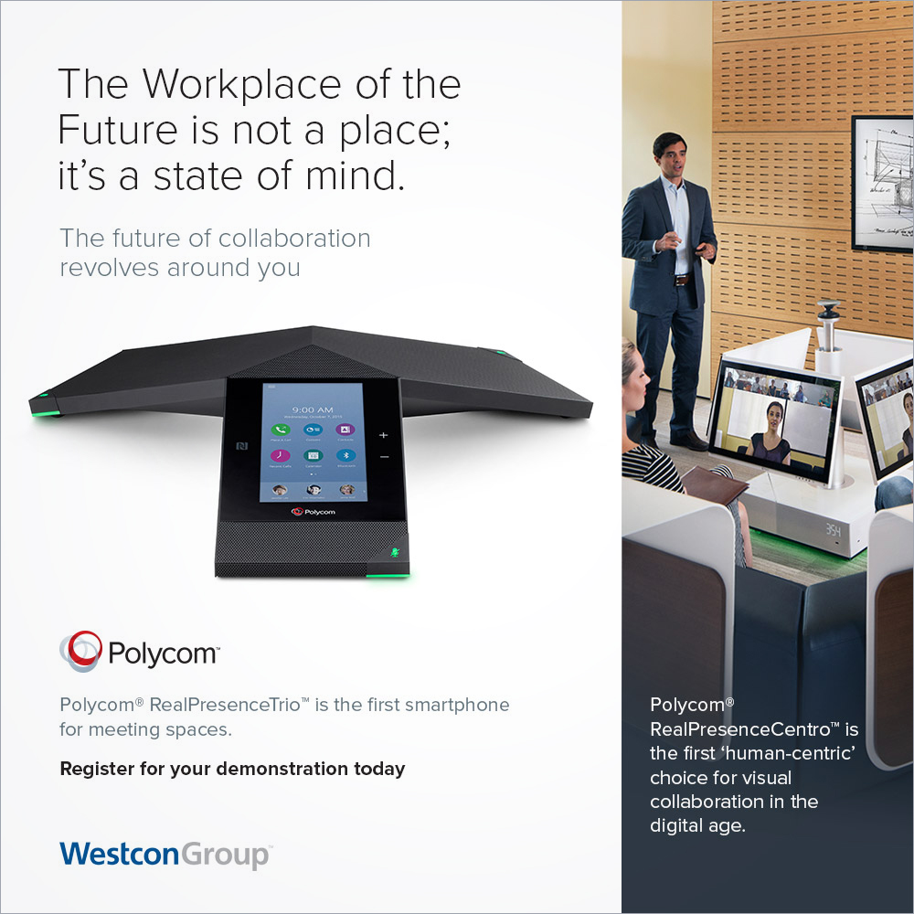 Polycom RealPresence Centro B2B online advertising campaign co-branded Westcon Group
