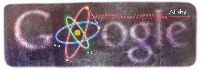 Google Doodle for Niels Bohr's 127th Birthday.