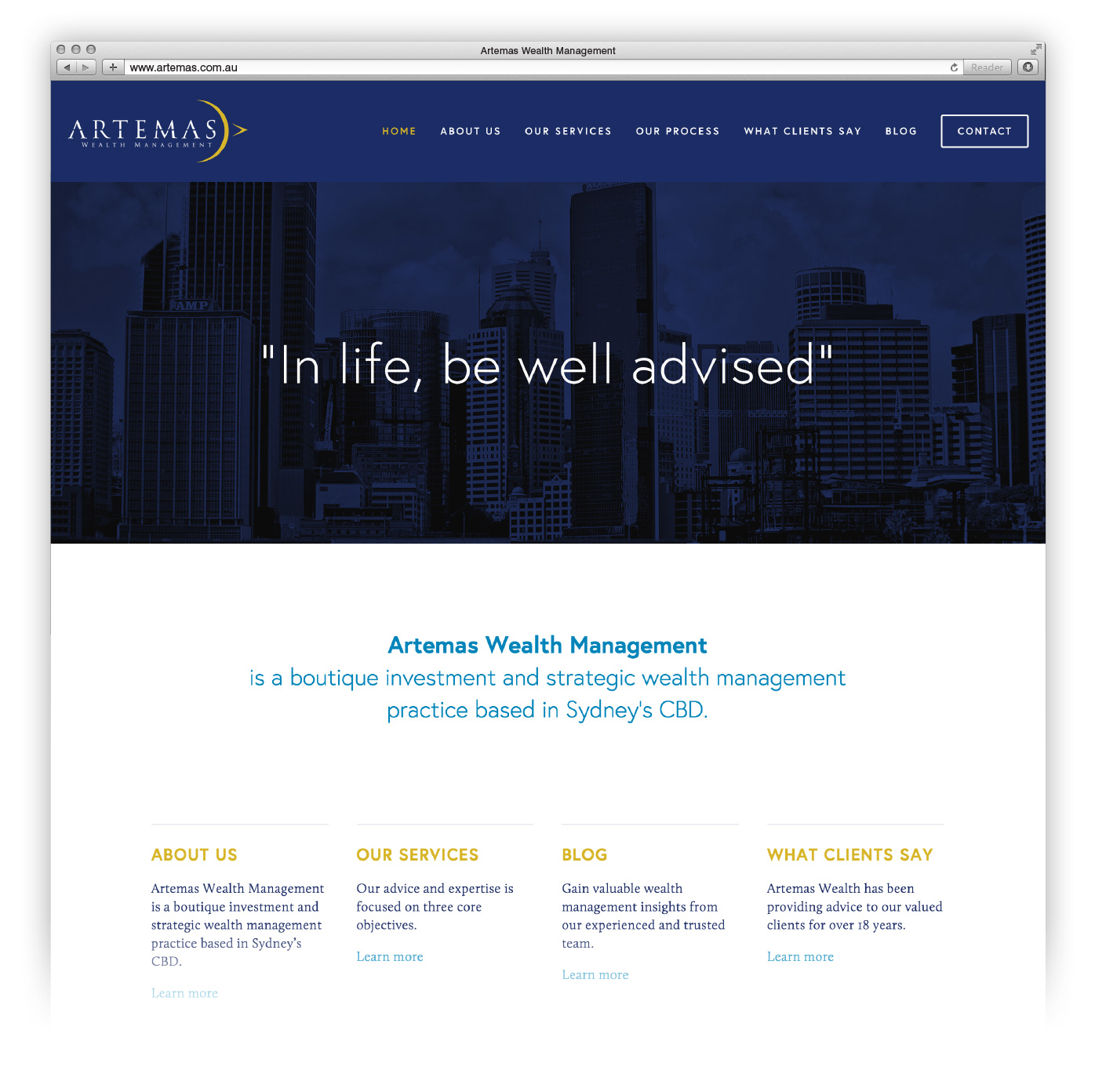 Website redesign for Artemas Wealth.