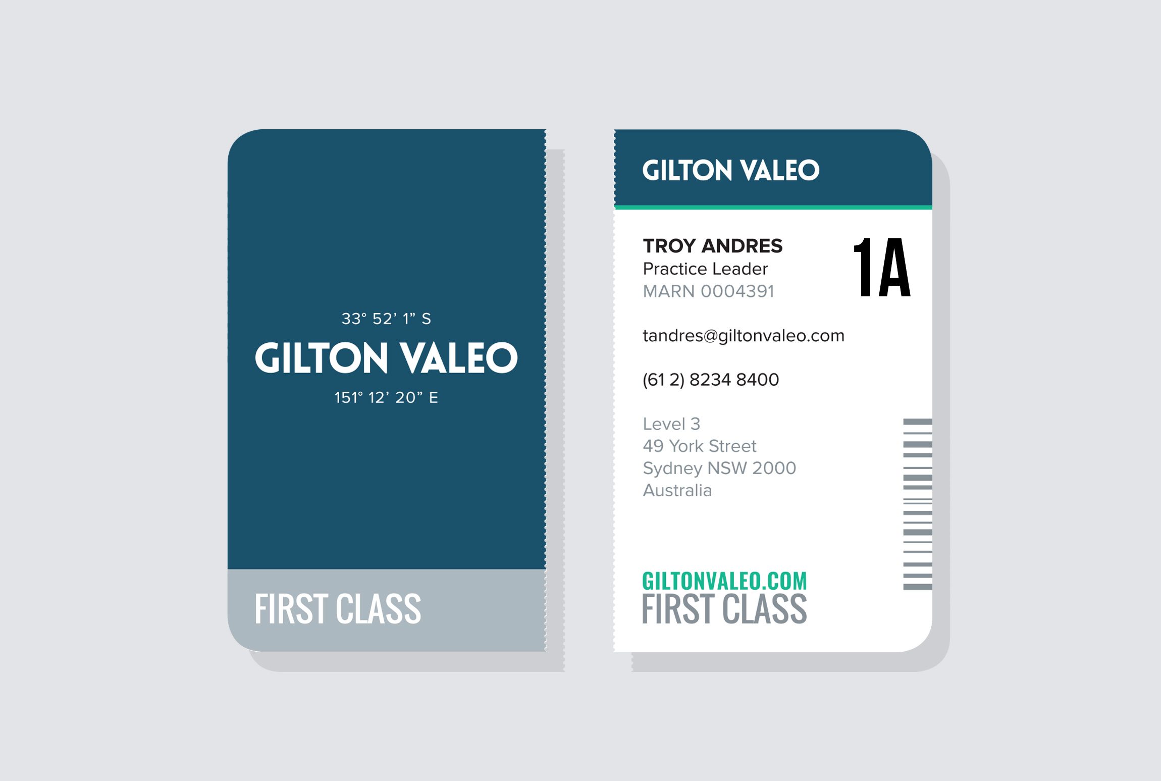 'Boarding Pass':  Business Cards for Gilton Valeo.