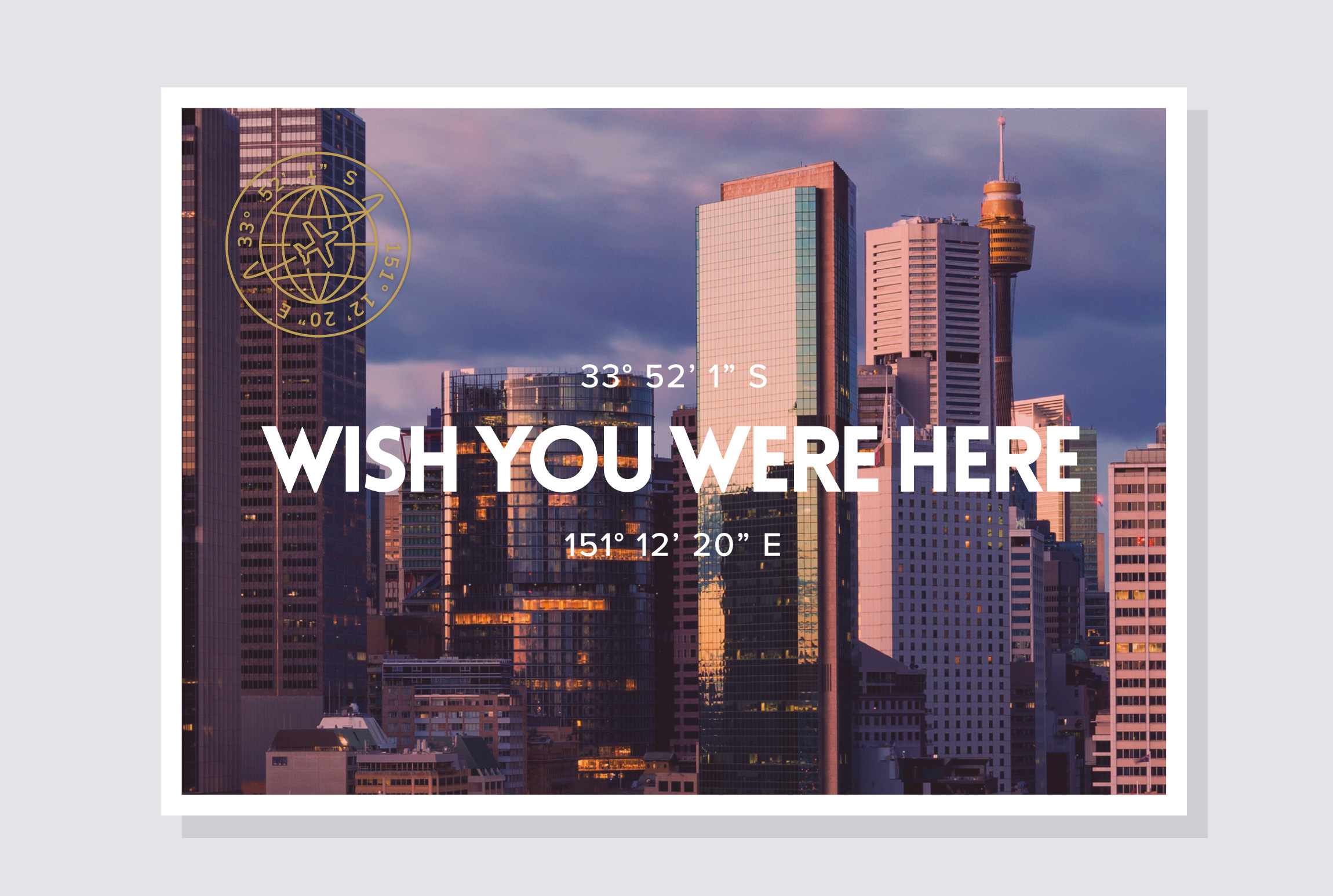'Wish you were here':  Gold Foil Postcard as With Comps Slip.