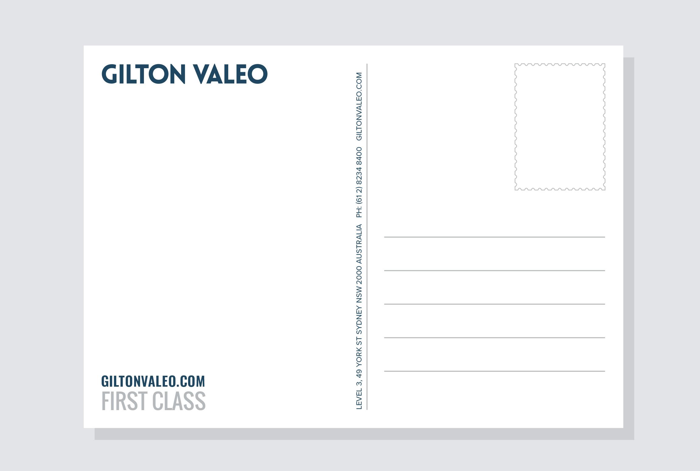 'First Class':  Postcard Back design.