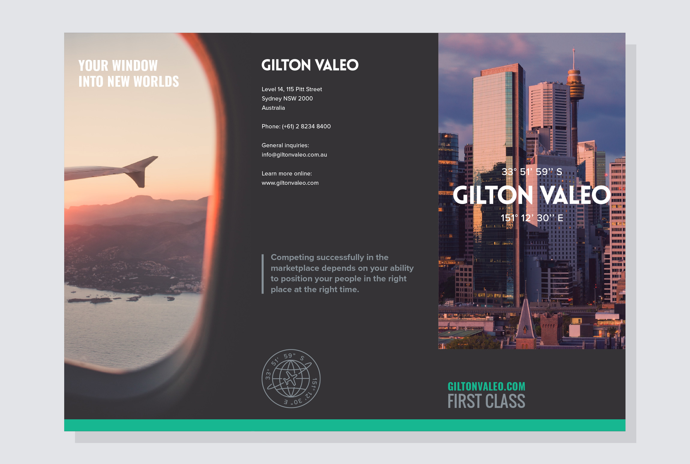 'Your window into new worlds':  Gate-fold Brochure for Gilton Valeo.
