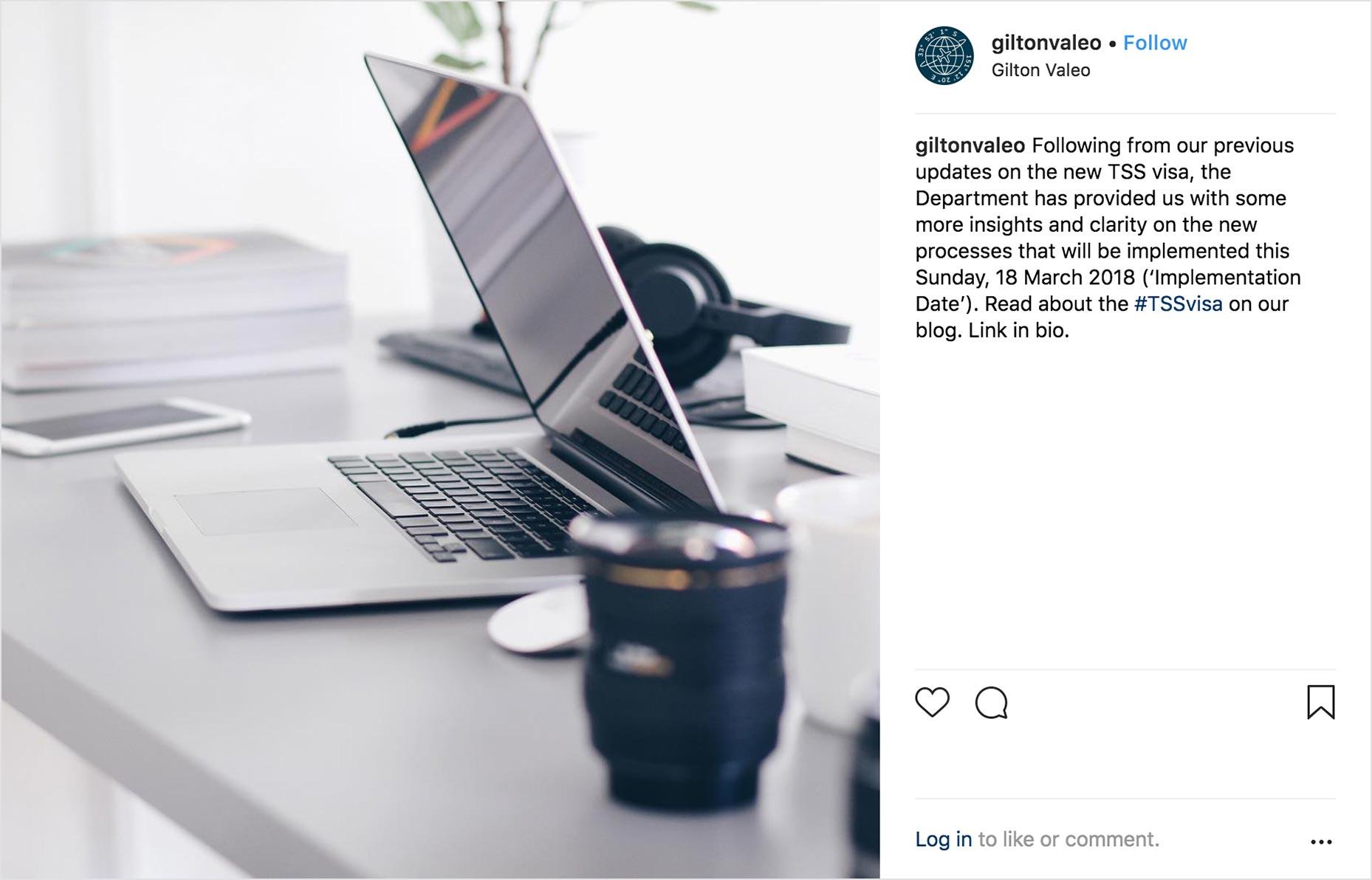 Instagram Post: Aspirational workplace