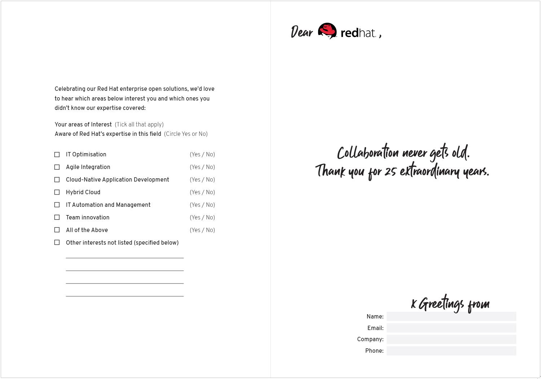 Red Hat ®  Birthday card, inside design.