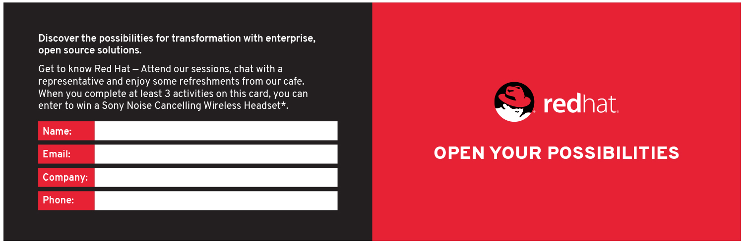 Red Hat ®  loyalty card, outside spread.