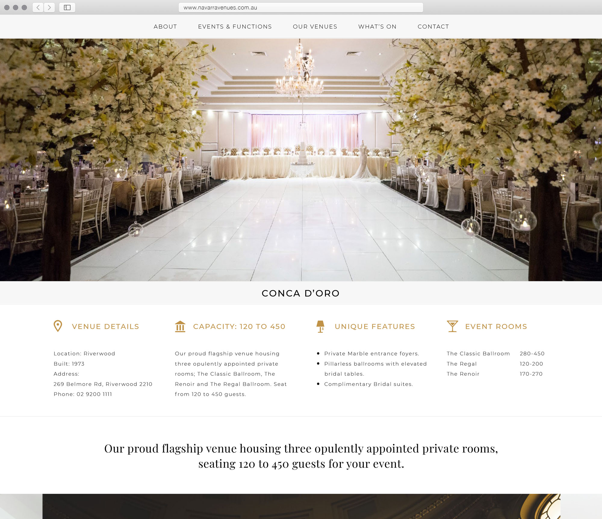 New venue page, highlighting room features