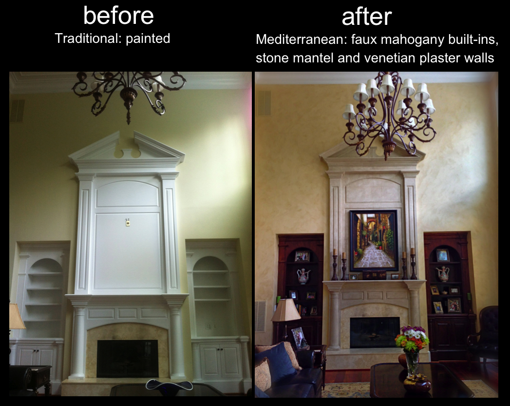Refinished Fireplace From Traditional to Mediterranean