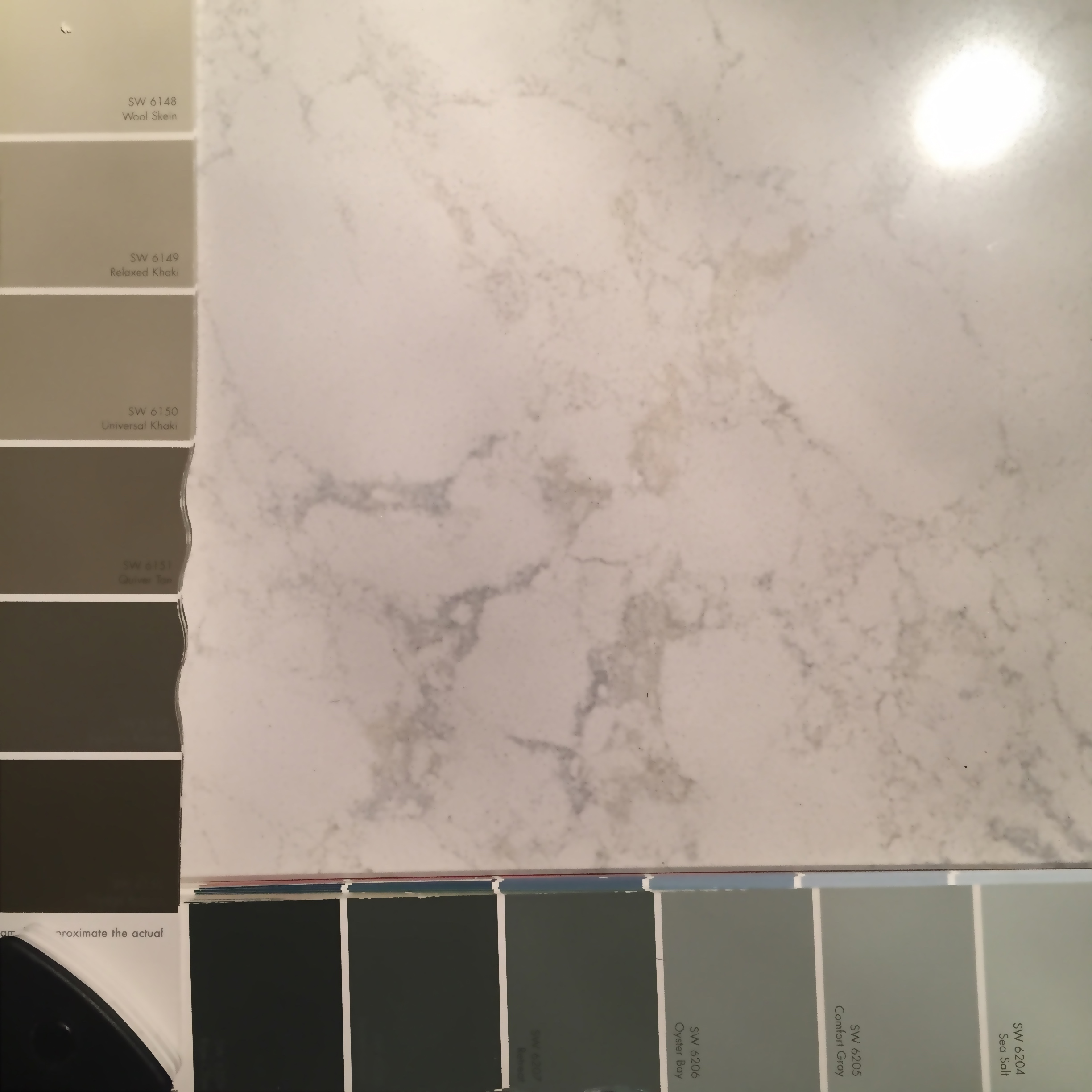 Choose colors from anchor elements such as countertops, rugs or window treatments