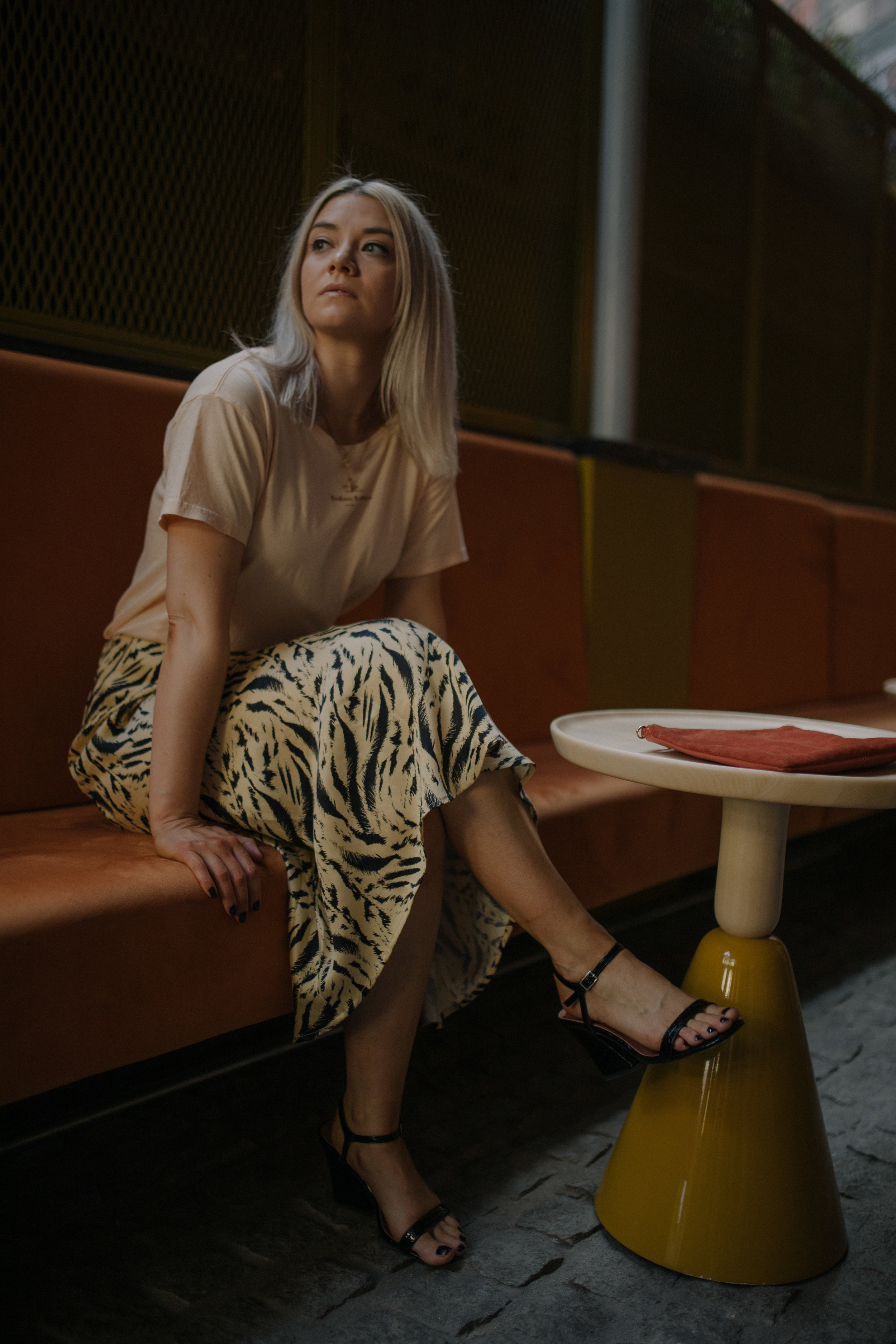 GIFTING INSTAGRAM, SCOTCH AND SODA T-SHIRT,  ANIMAL MIDI SKIRT, H&M SATIN SKIRT, NORTHERN MAGPIE, JOEY TAYLOR, TOPSHOP HEELS 2