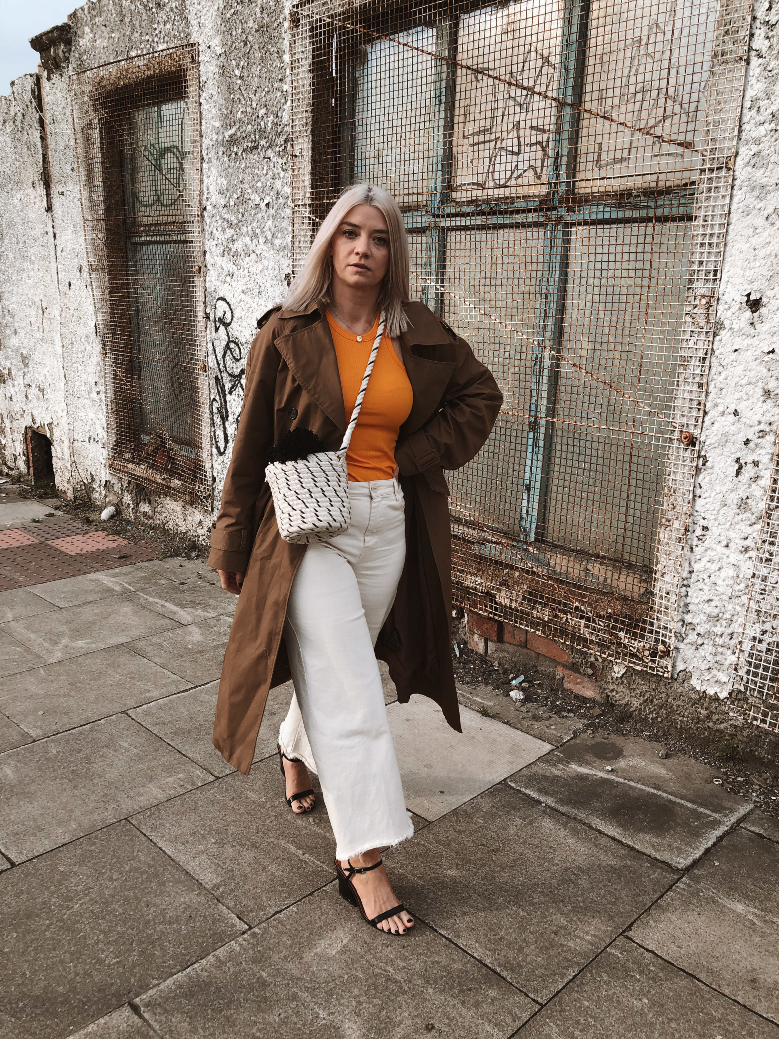 h&m studio collection ss19, cream jeans, orange tank top, ribbed tank top, trench coat, black heels, joey taylor, northern magpie 1