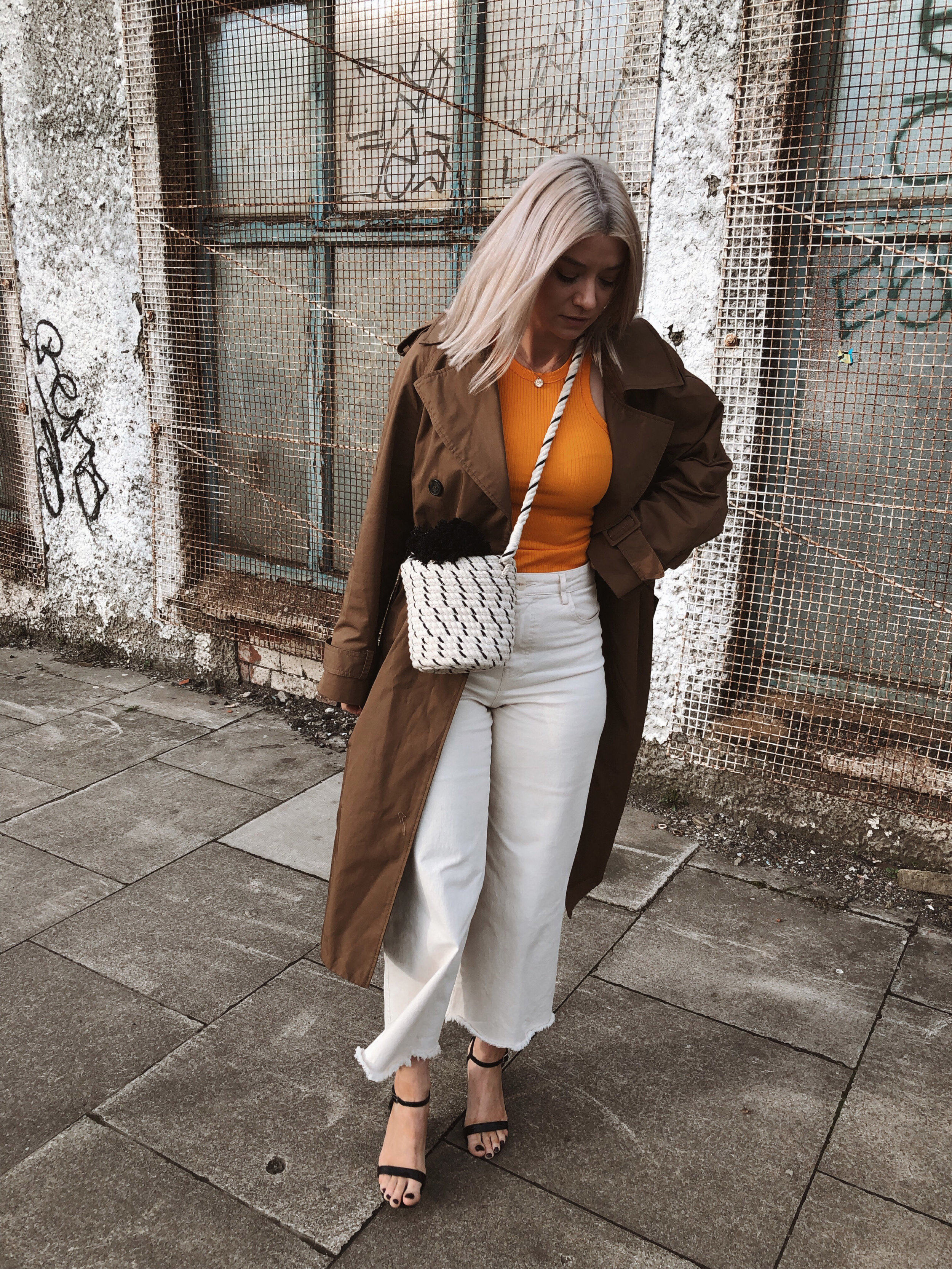 h&m studio collection ss19, cream jeans, orange tank top, ribbed tank top, trench coat, black heels, joey taylor, northern magpie 3