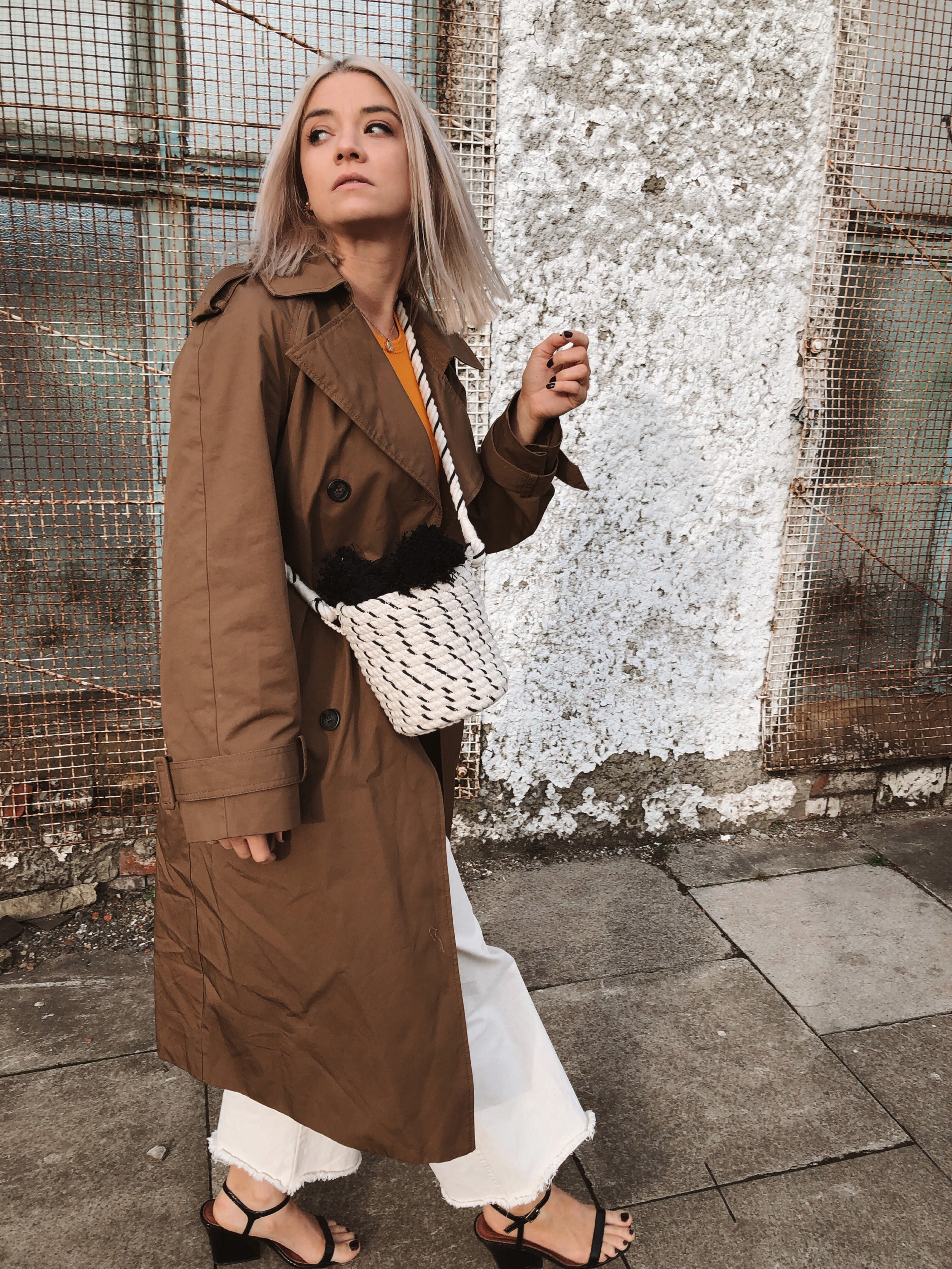 h&m studio collection ss19, cream jeans, orange tank top, ribbed tank top, trench coat, black heels, joey taylor, northern magpie 4