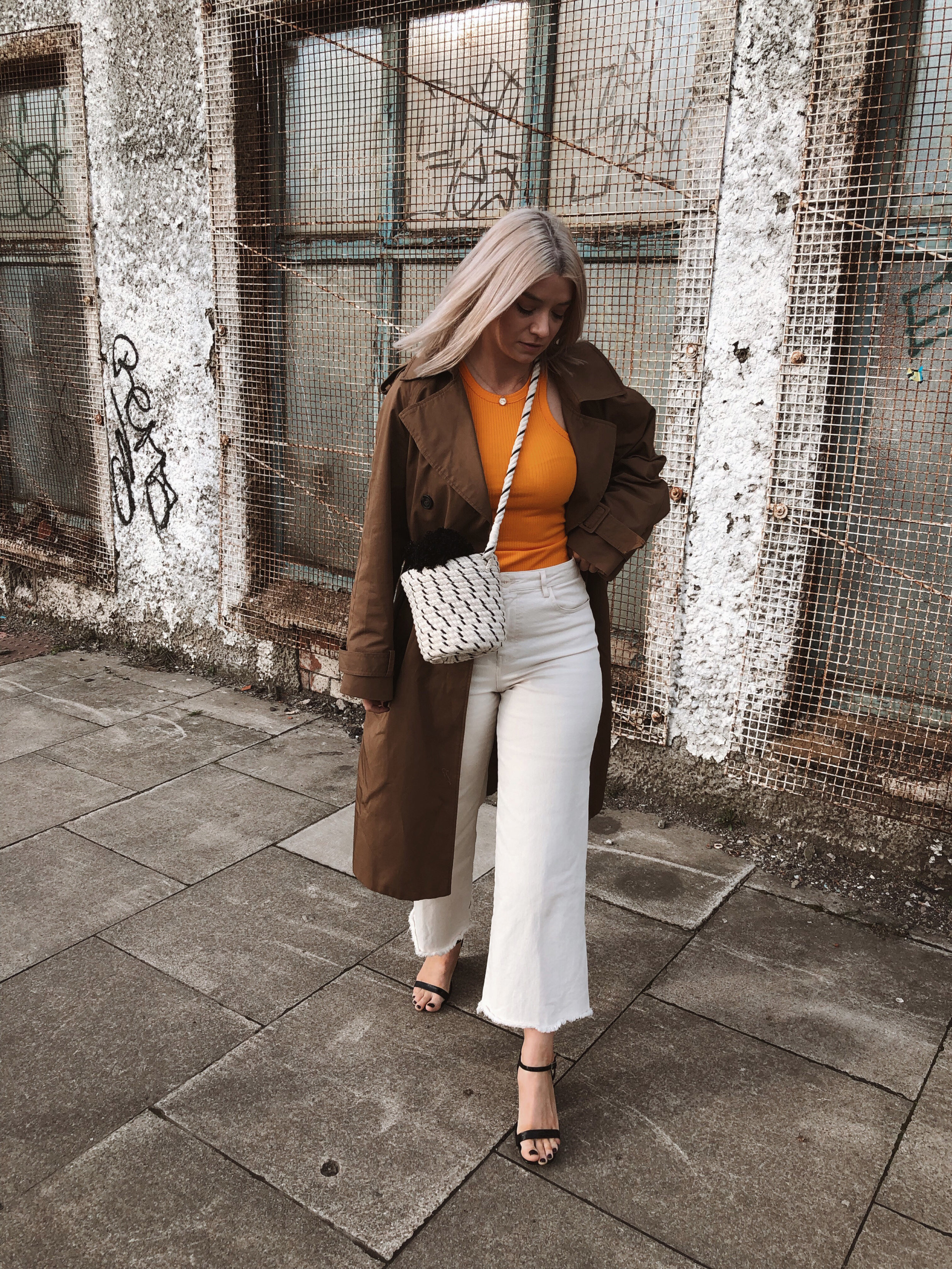 h&m studio collection ss19, cream jeans, orange tank top, ribbed tank top, trench coat, black heels, joey taylor, northern magpie 5