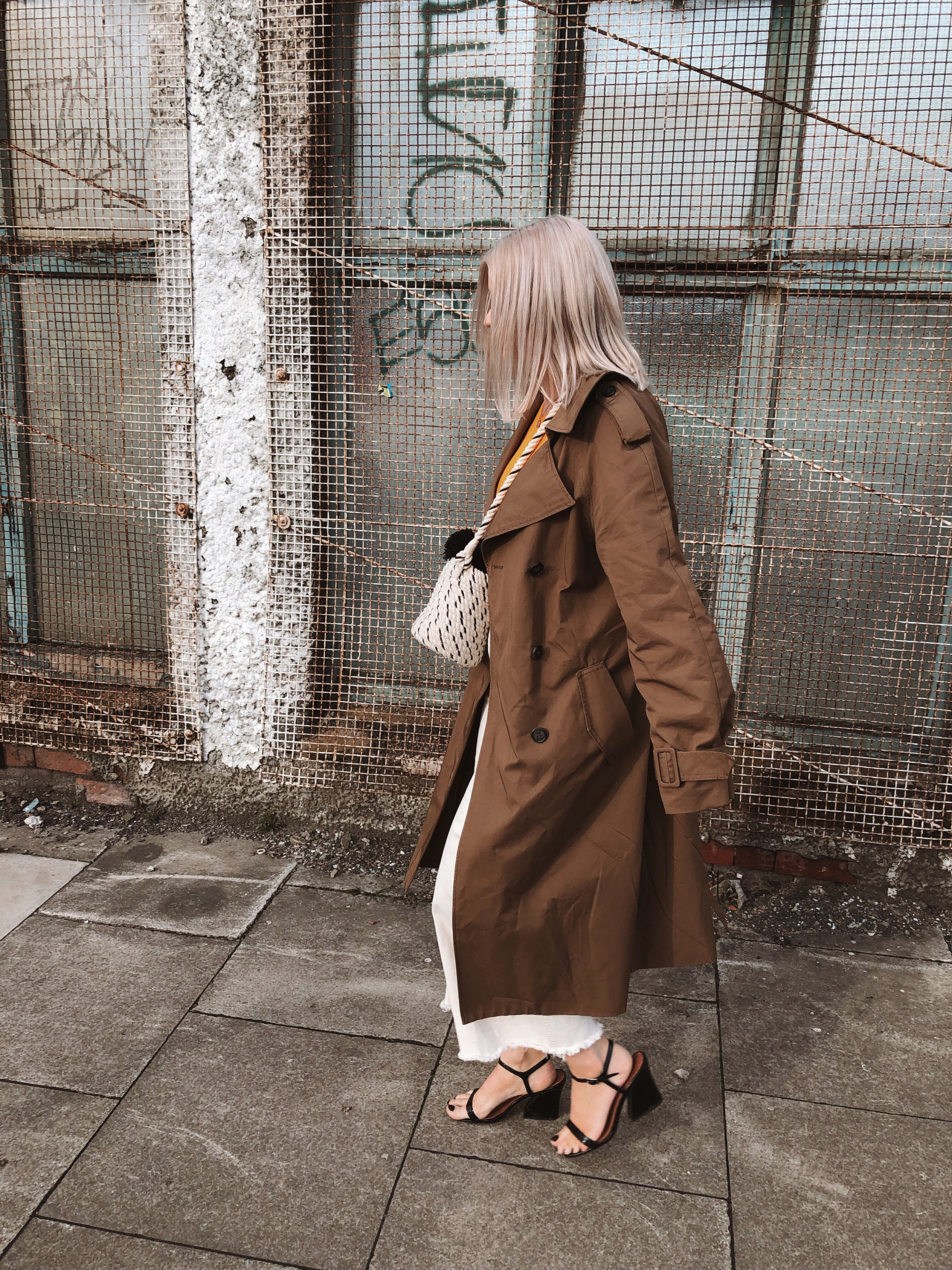 h&m studio collection ss19, cream jeans, orange tank top, ribbed tank top, trench coat, black heels, joey taylor, northern magpie 6