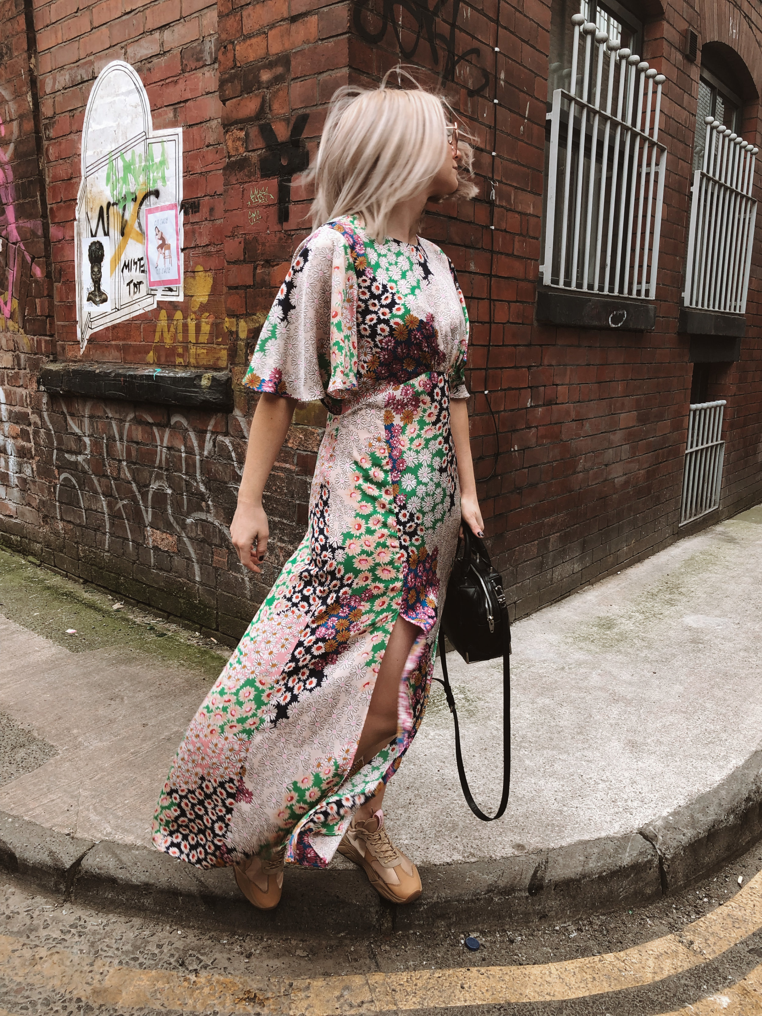 topshop auston dress, topshop floral dress, scotch and soda footwear, chunky trainers, summer dress, dresses and trainers, joey taylor, northern quarter 1