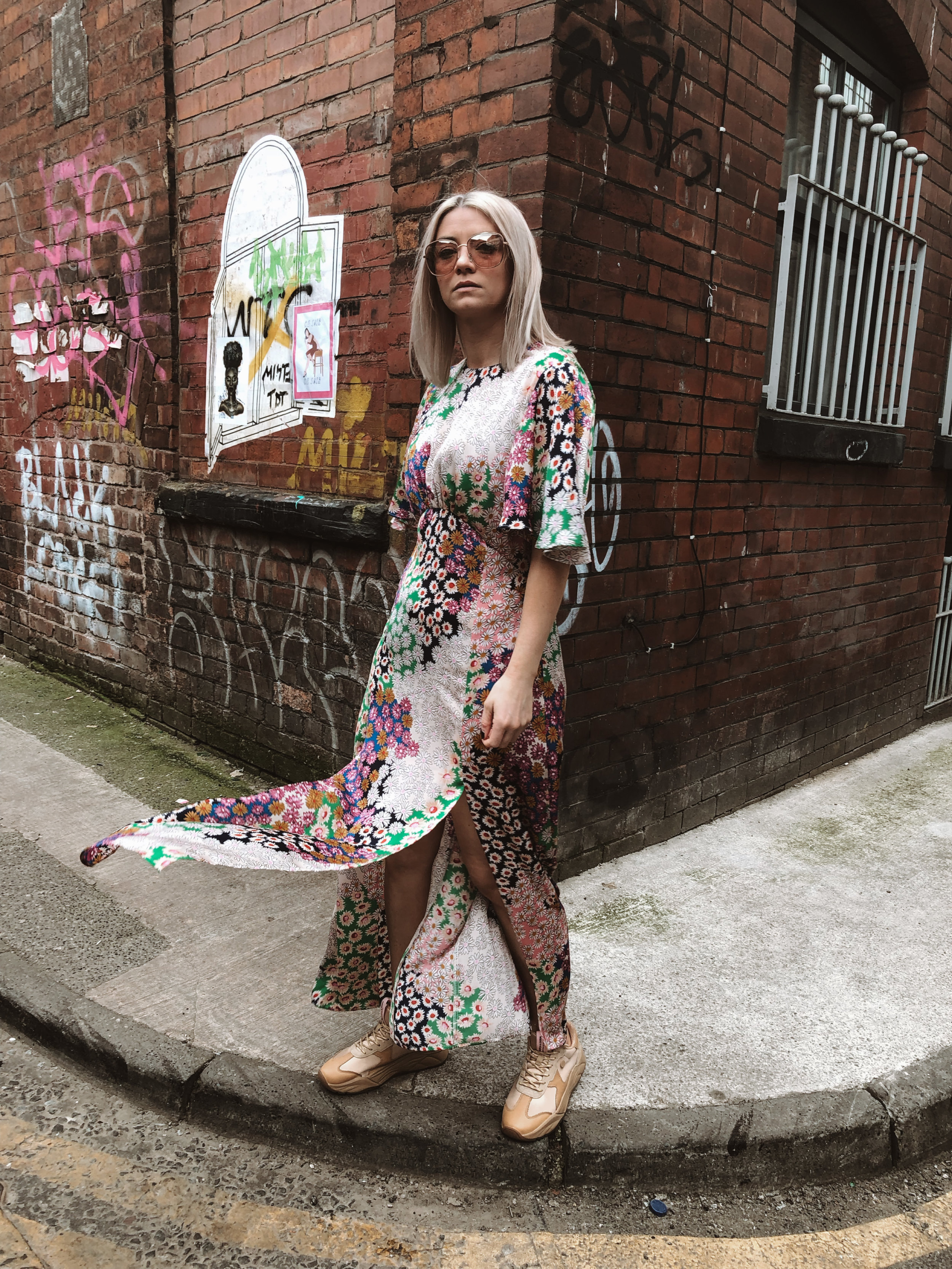 topshop auston dress, topshop floral dress, scotch and soda footwear, chunky trainers, summer dress, dresses and trainers, joey taylor, northern quarter 2