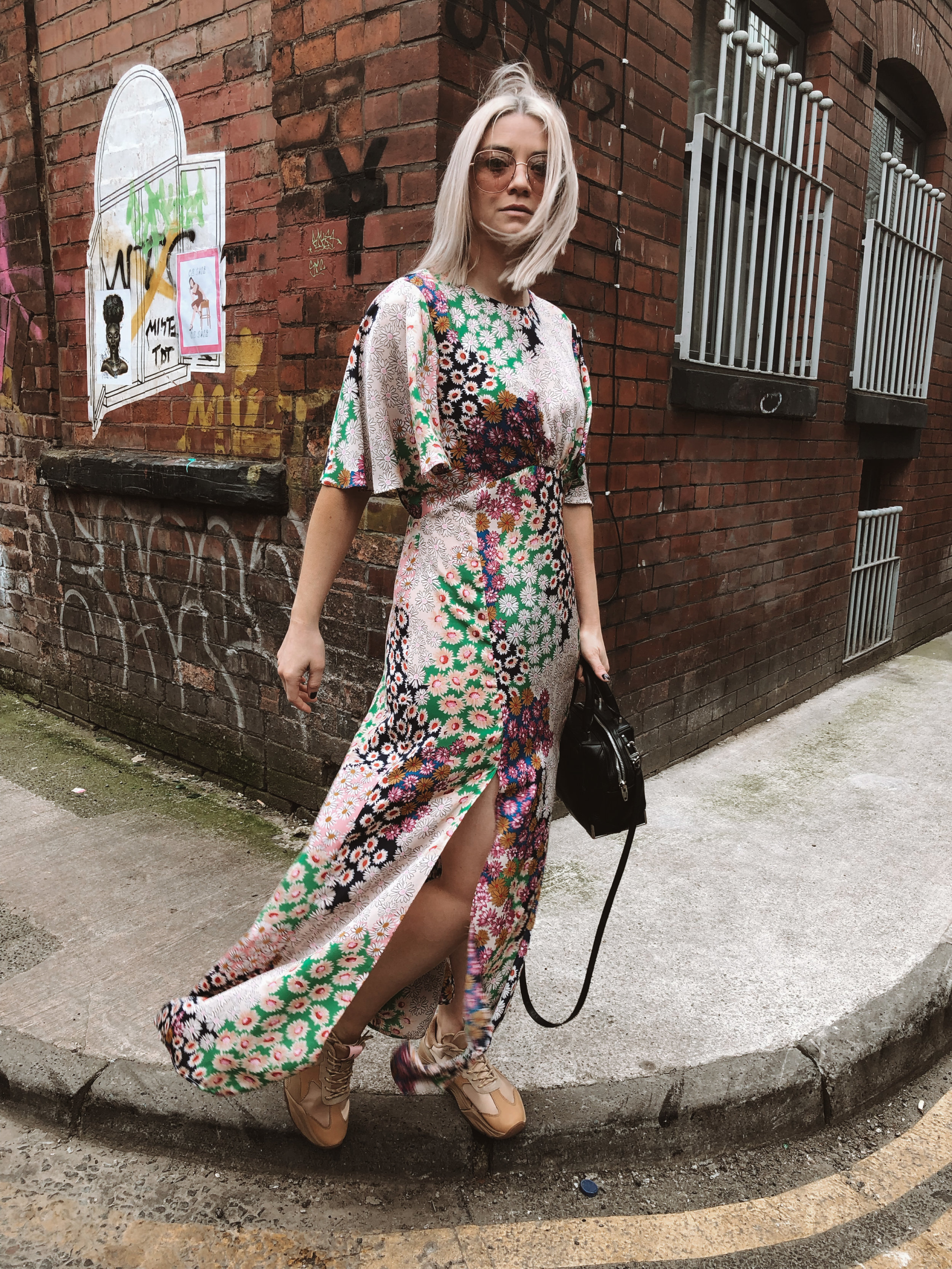 topshop auston dress, topshop floral dress, scotch and soda footwear, chunky trainers, summer dress, dresses and trainers, joey taylor, northern quarter 3